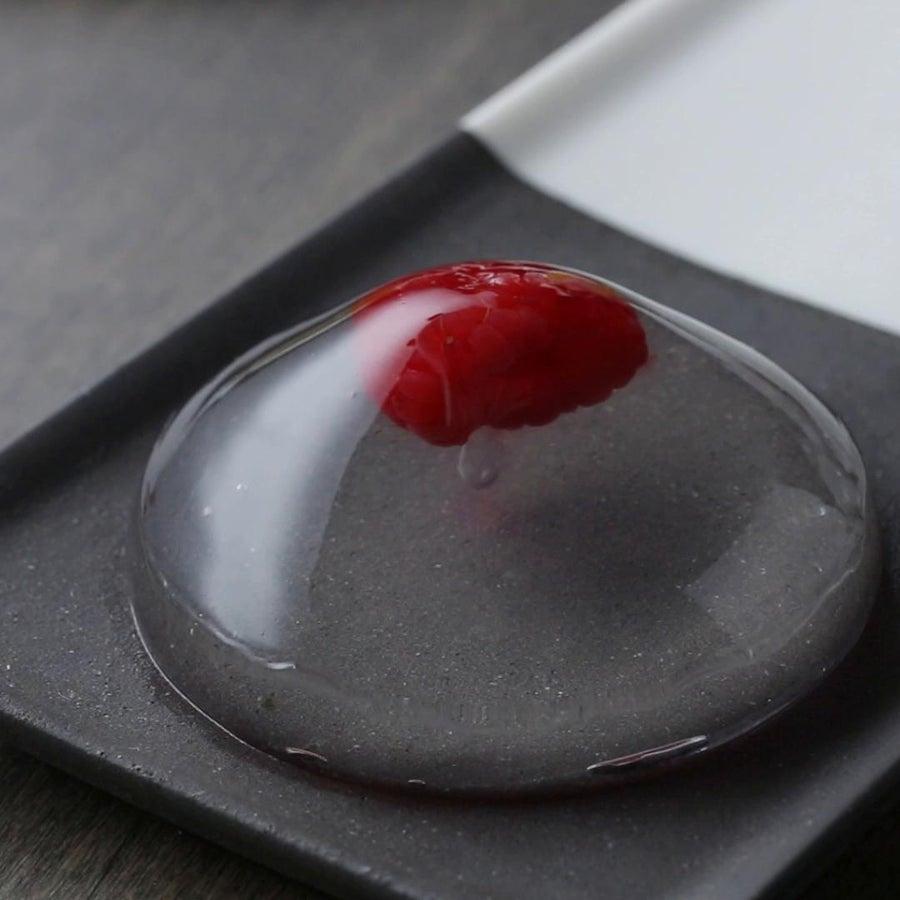 Raspberry Rain Drop Cake