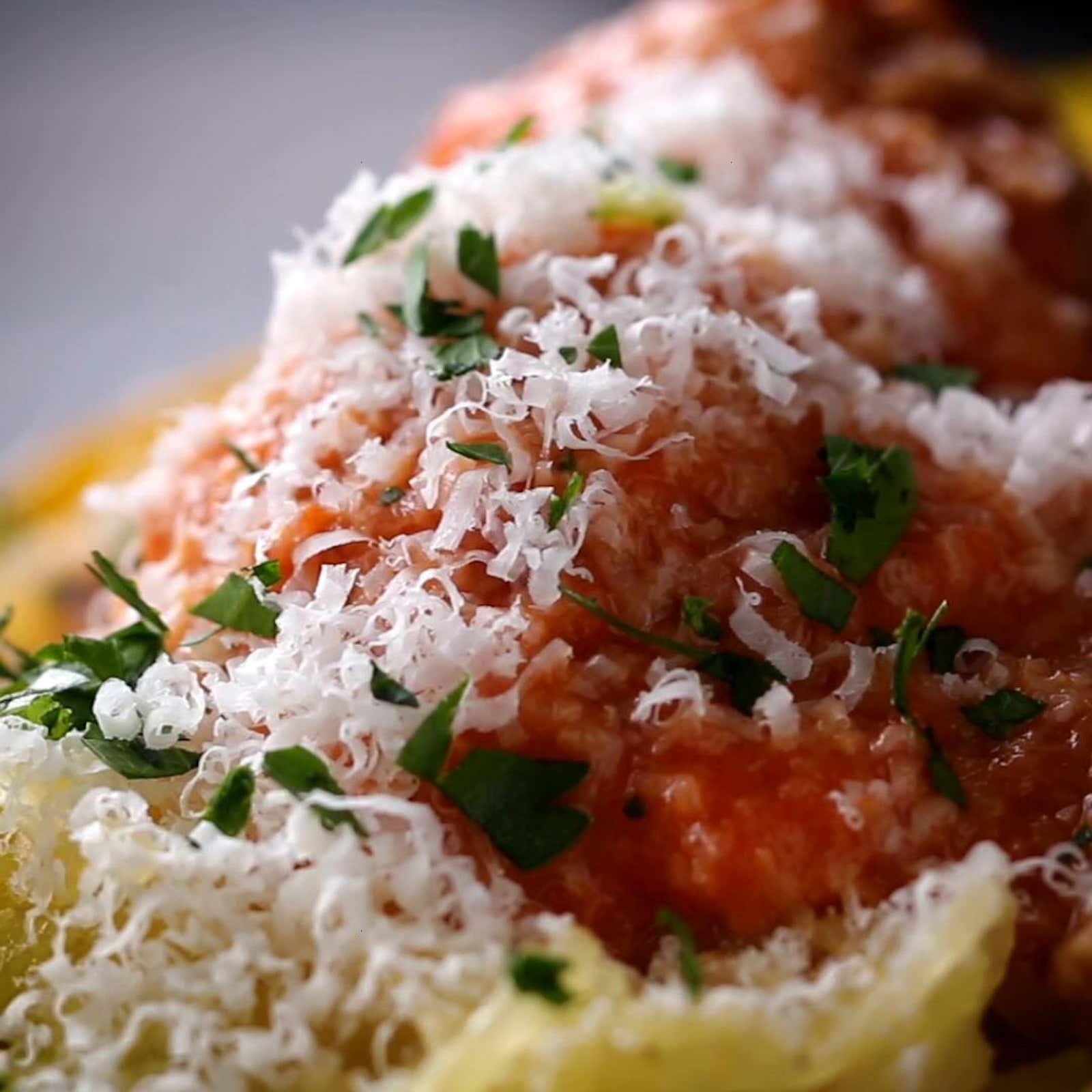Microwave Spaghetti Squash & Meatballs
