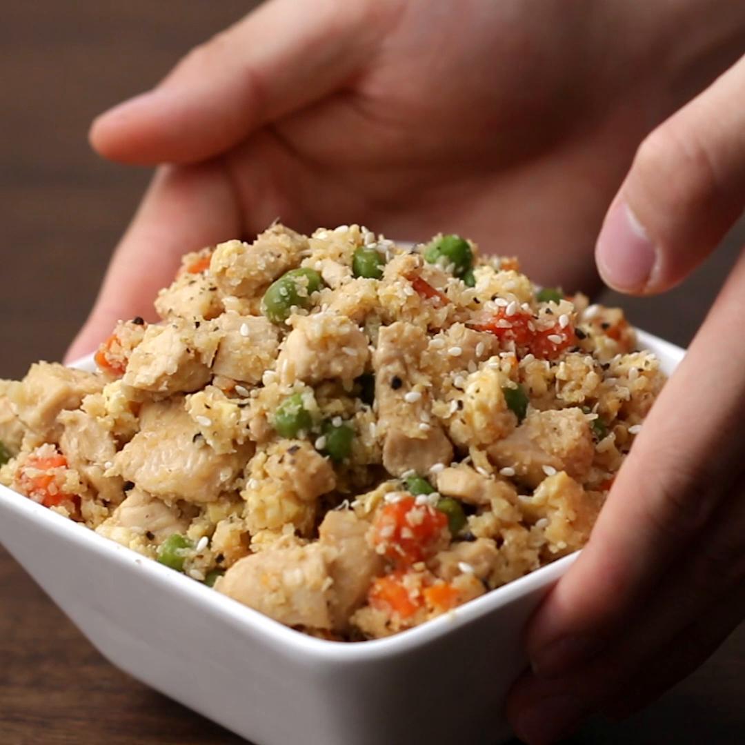 Sesame Chicken Cauliflower Fried Rice Recipe By Tasty