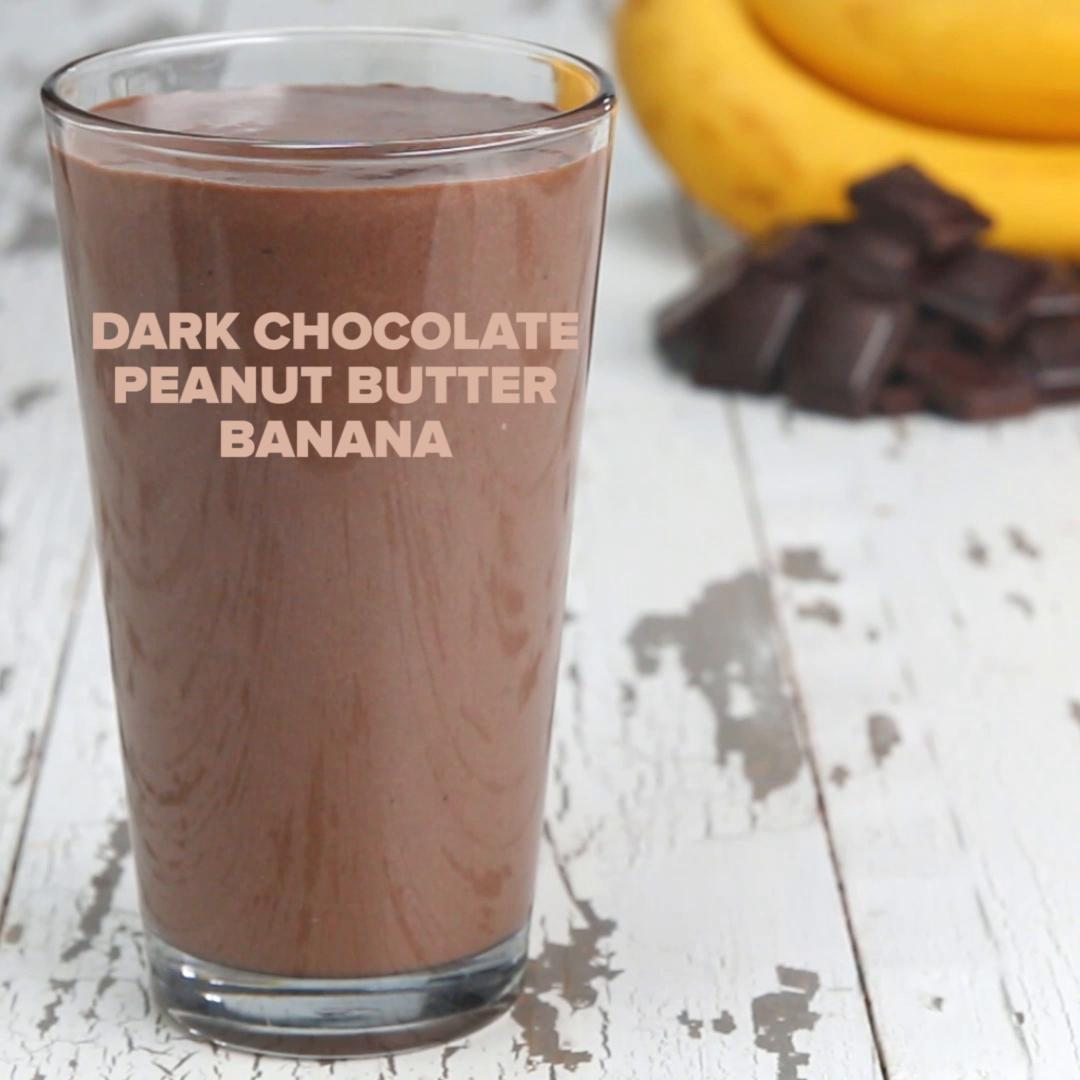 Dark Chocolate Peanut Butter Banana Protein Smoothie Recipe By Tasty