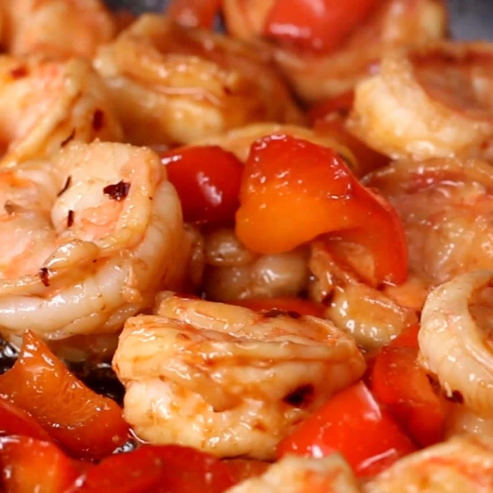 Red Chili Shrimp Stir-fry