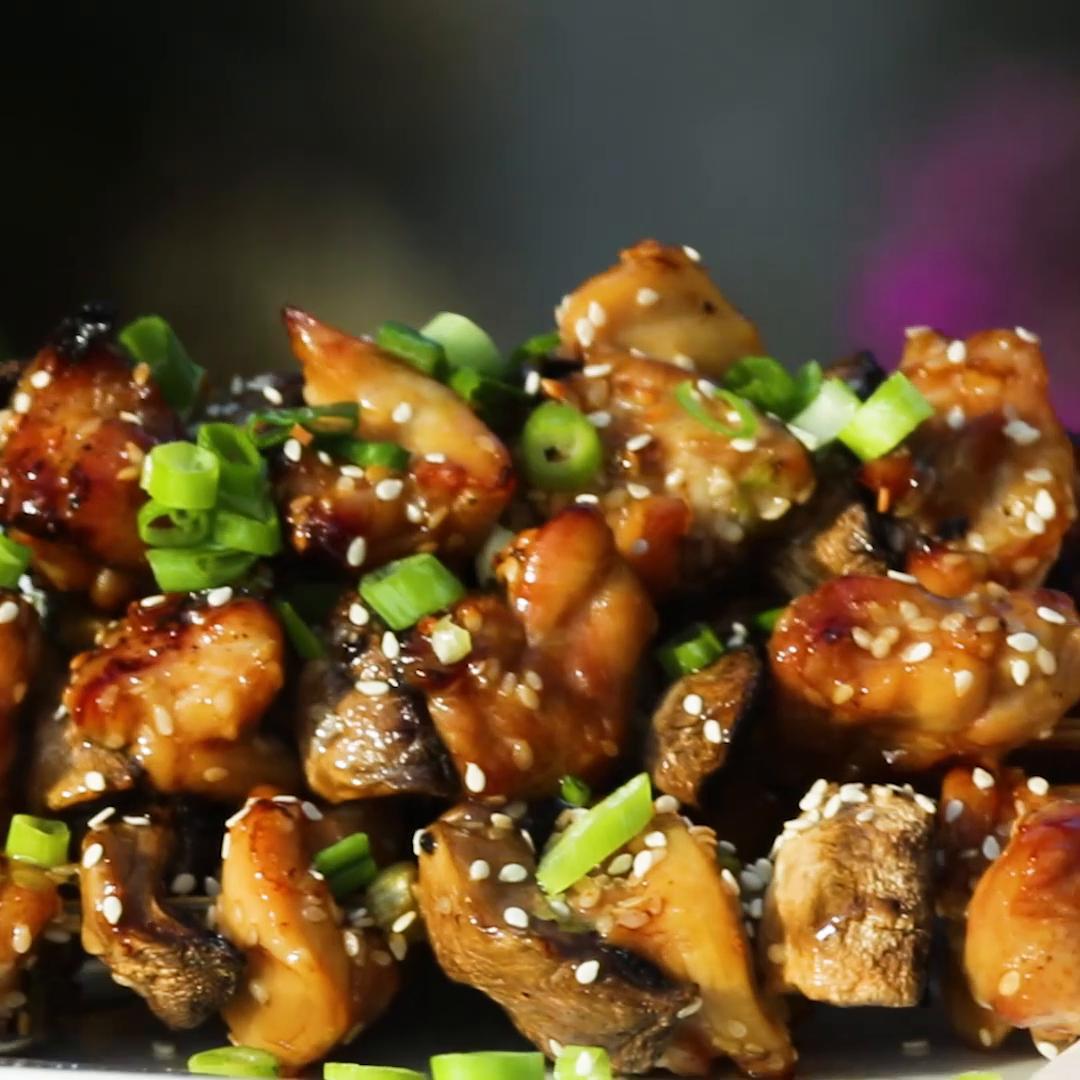 Teriyaki Chicken And Mushroom Skewers Recipe By Tasty