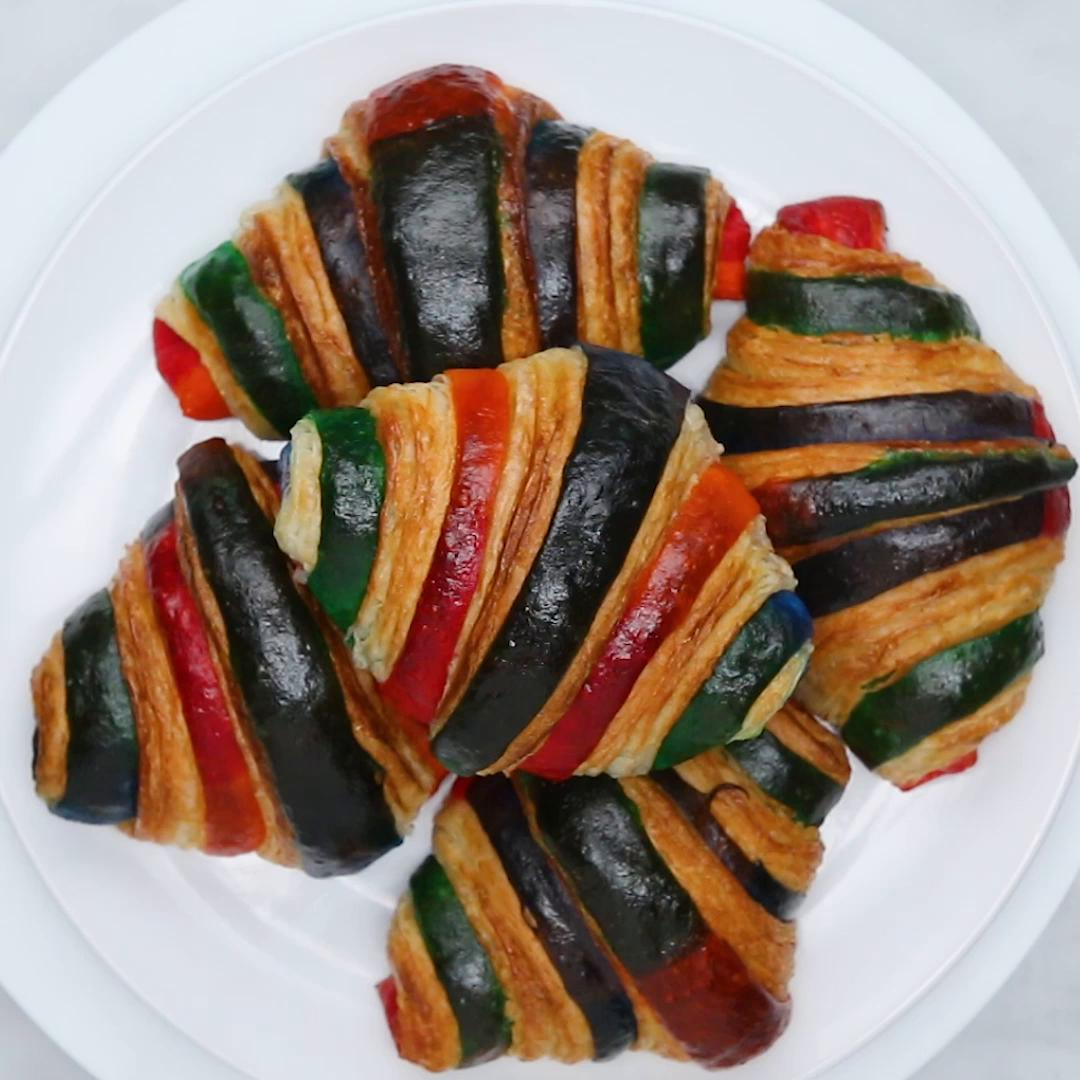 Rainbow Croissants Recipe by Tasty