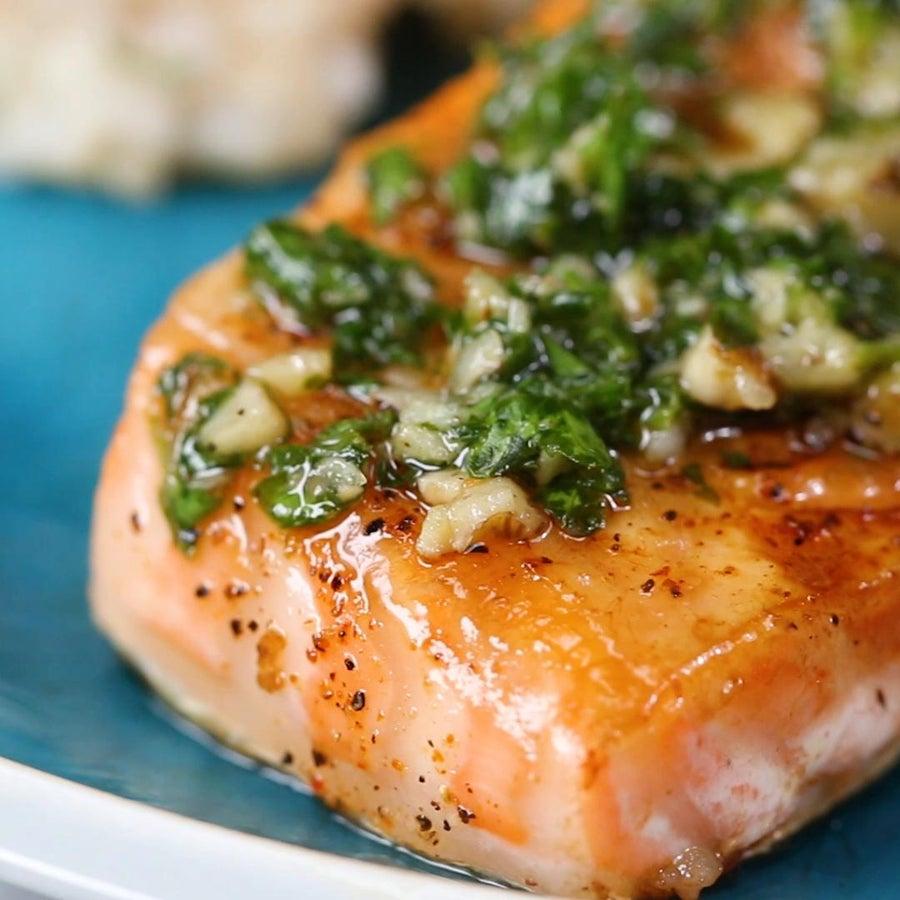 Salmon With Quick Parsley Walnut Pesto