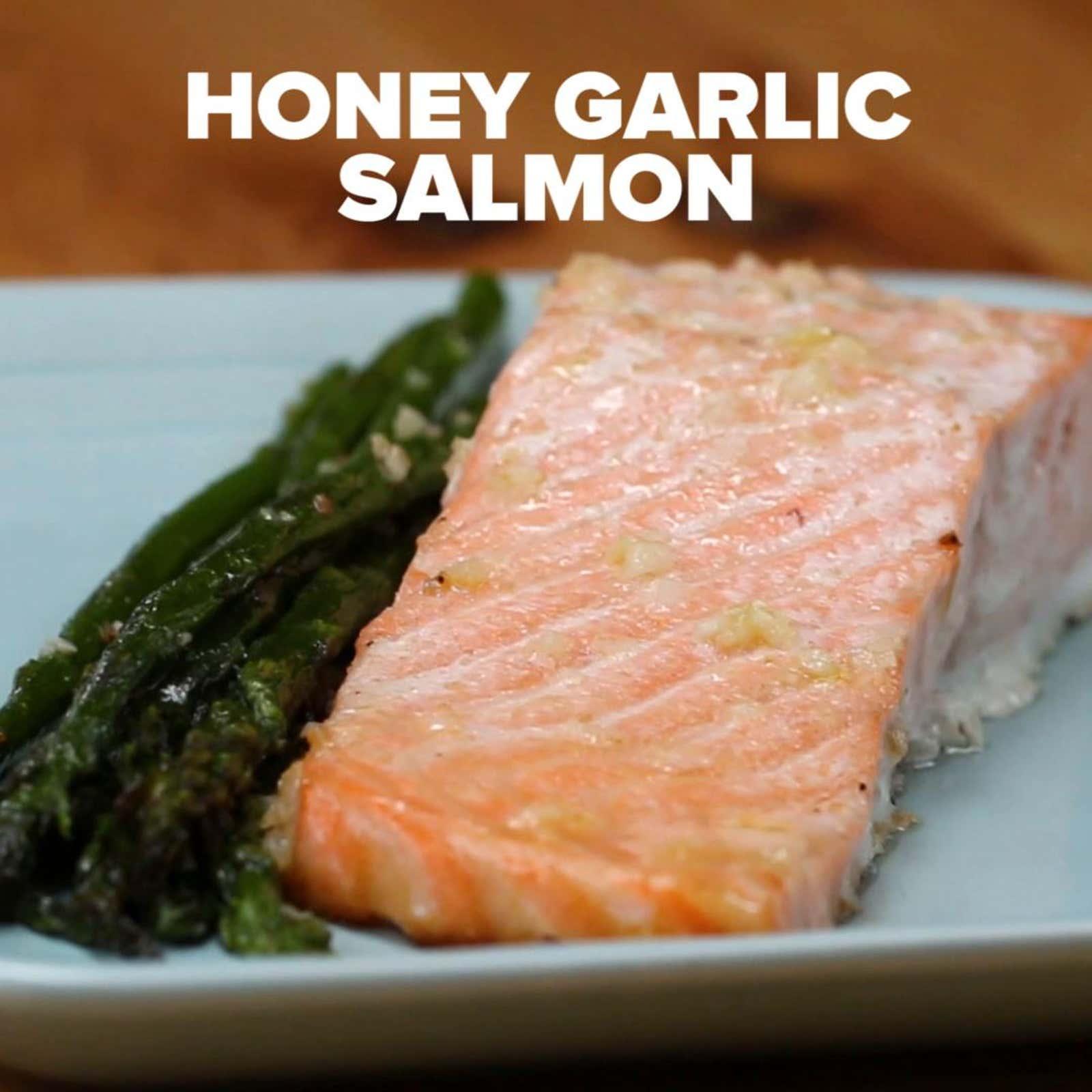 One Pan Honey Garlic Salmon Amp Asparagus Recipe By Tasty