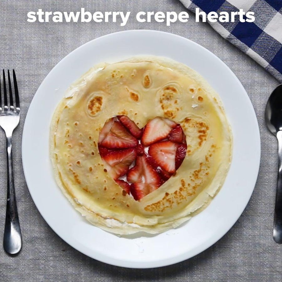 Strawberry Crepe Hearts