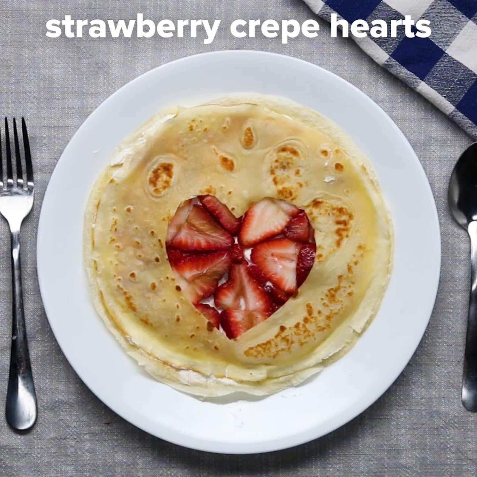 Strawberry Crepe Hearts