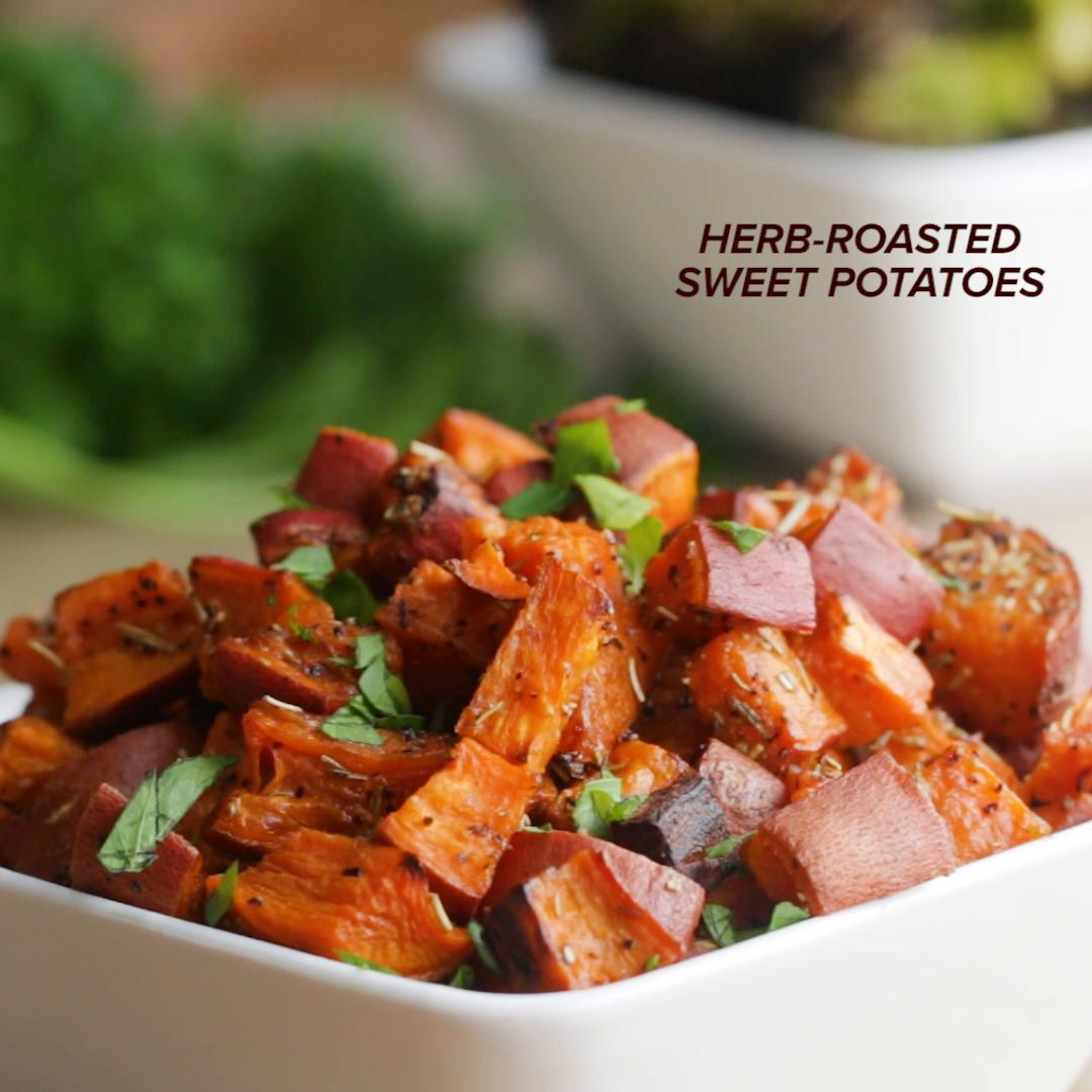 11 Easy And Delicious Ways To Cook Sweet Potatoes: Rosemary Roasted Sweet Potatoes Recipe By Tasty