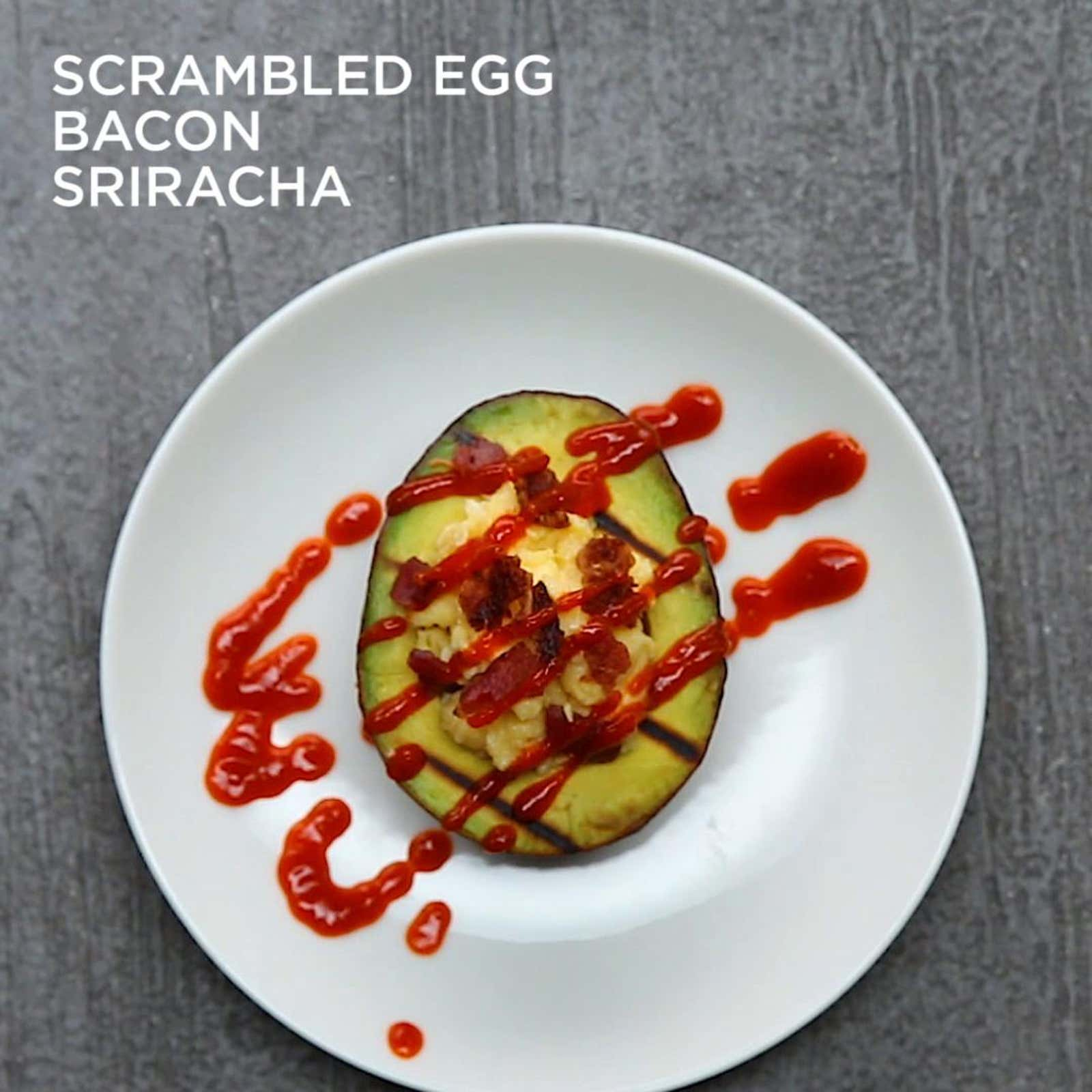 Scrambled Eggs, Bacon, And Sriracha–stuffed Avocado