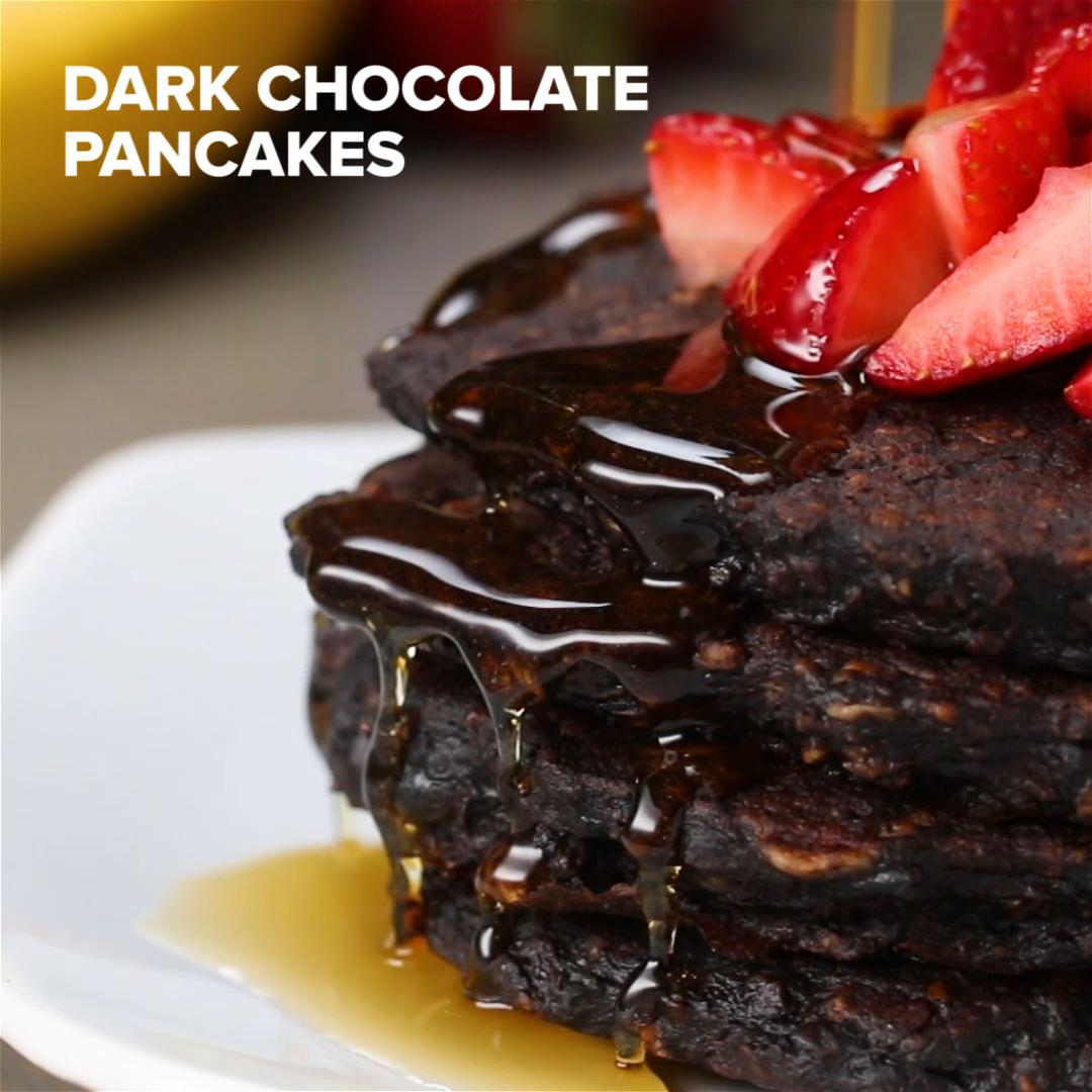 Healthy Dark Chocolate Pancakes Recipe By Tasty