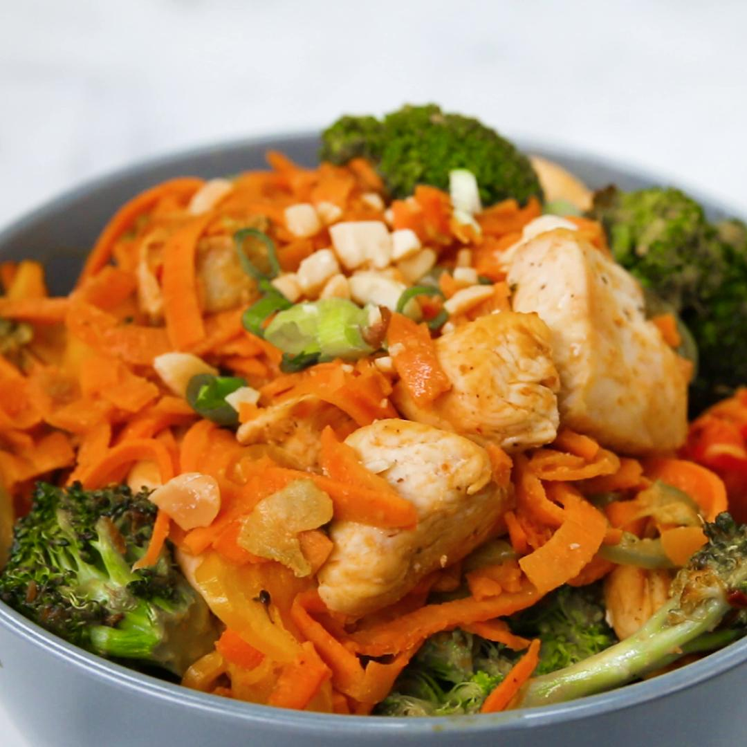 Sweet Potato Chicken Stir Fry With Peanut Sauce Recipe By Tasty