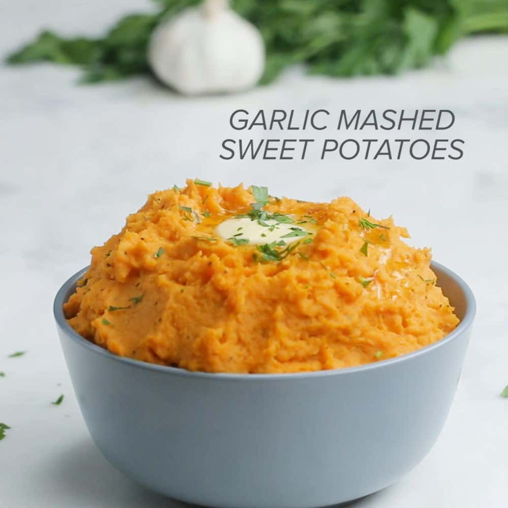 garlic mashed sweet potatoes