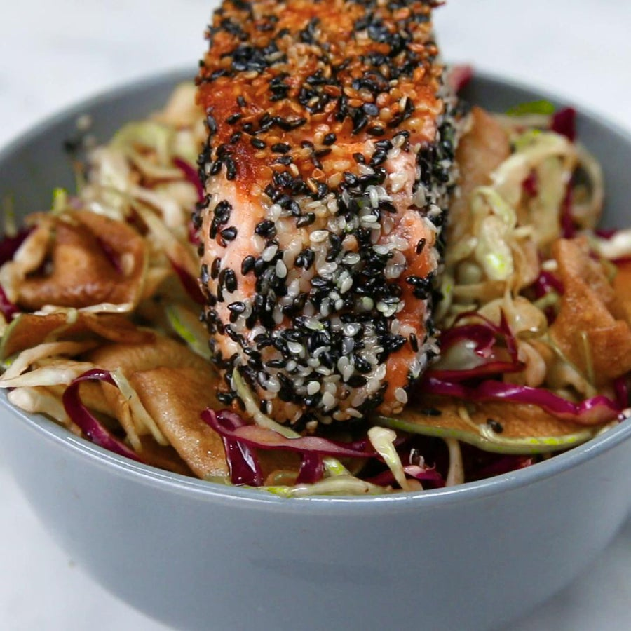 Apple And Cabbage Slaw With Herbed Salmon