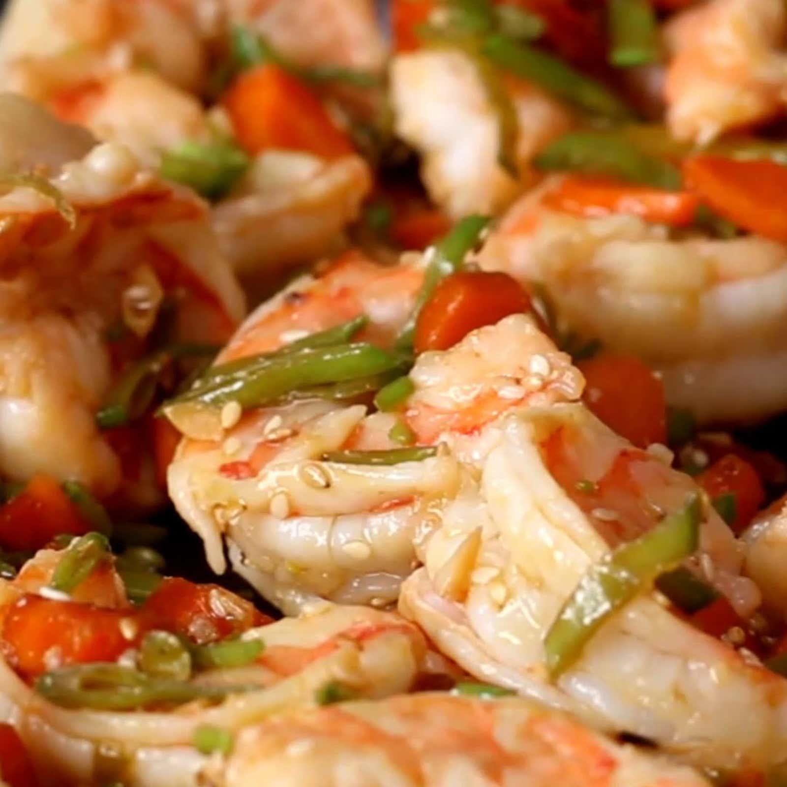 Carrot Sesame Shrimp Stir-fry