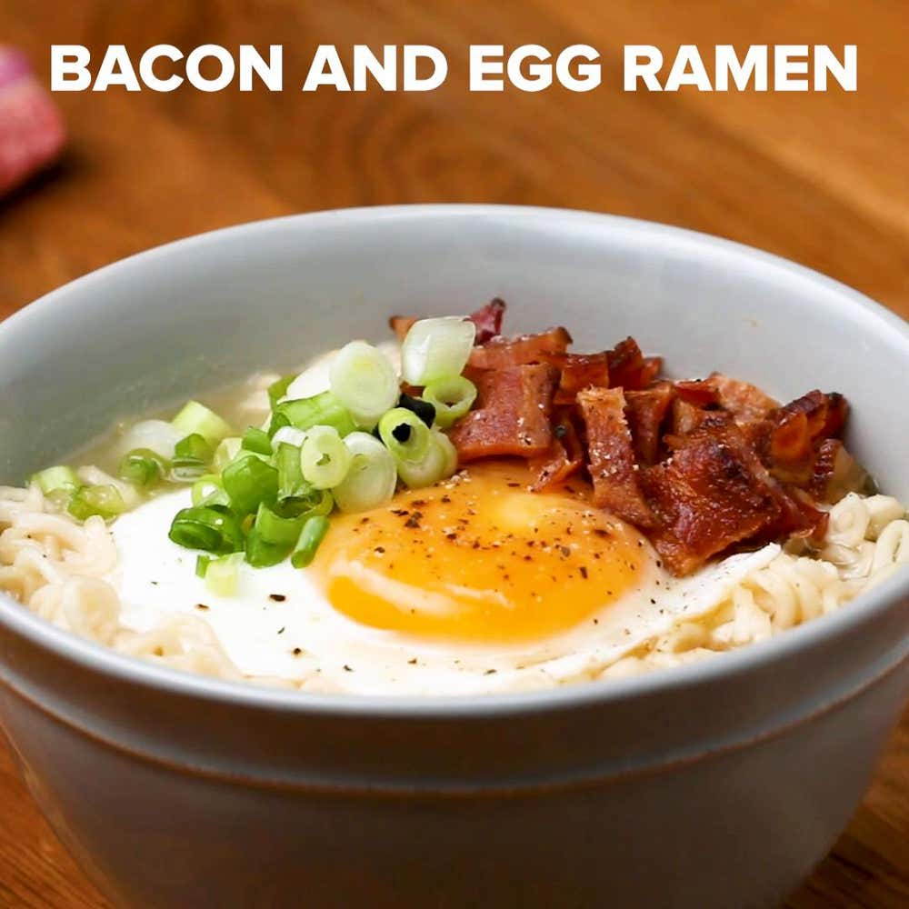 bacon and egg ramen recipe by tasty