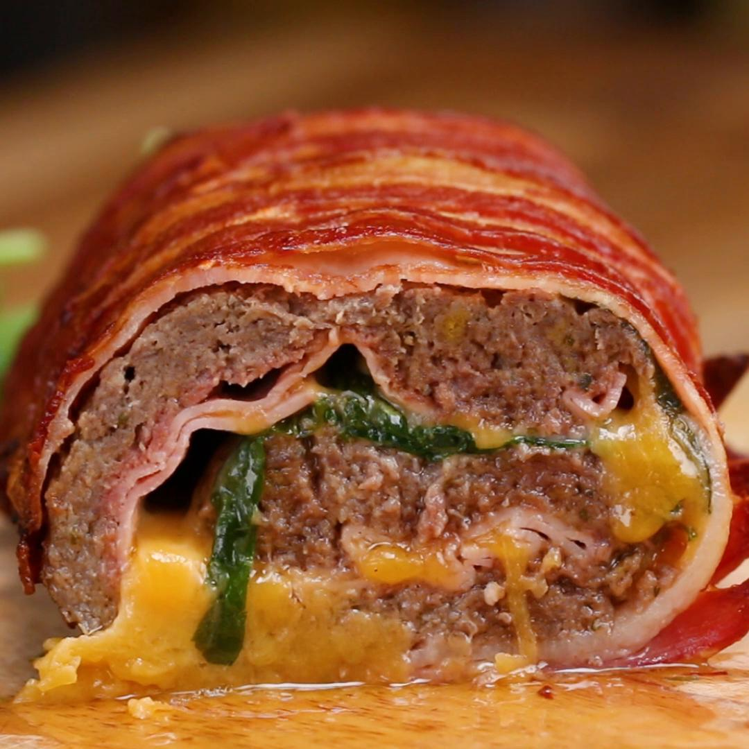 bacon wrapped burger roll recipe by tasty