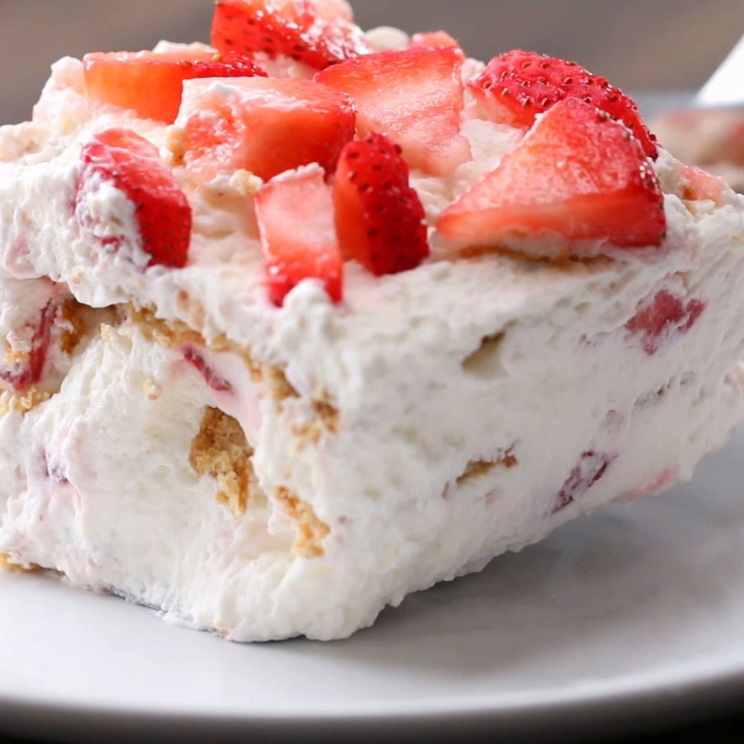3 Ingredient Strawberry Icebox Cake Recipe By Tasty