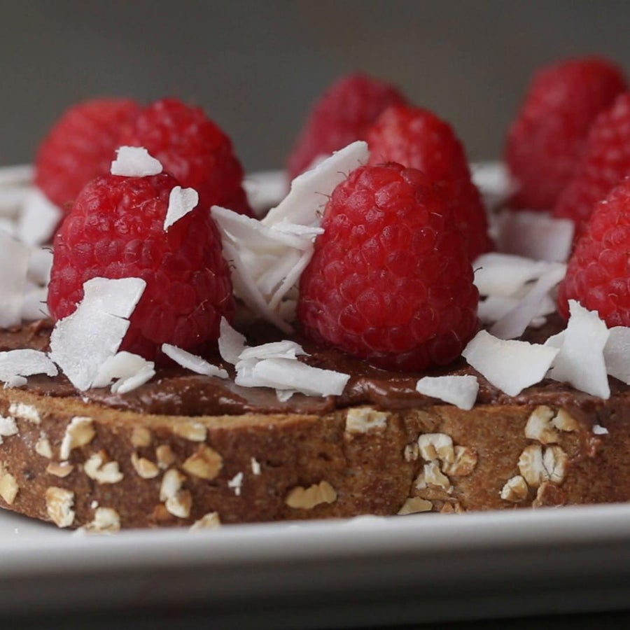 Chocolate Almond Butter And Raspberry Toast