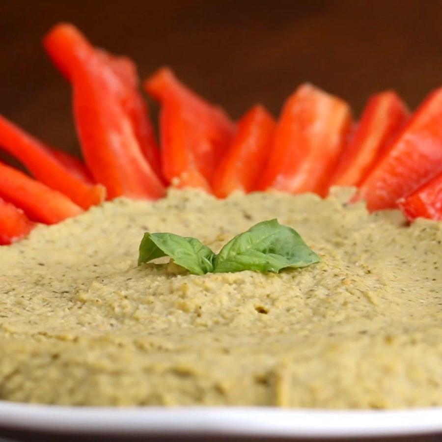Easy Pesto Hummus