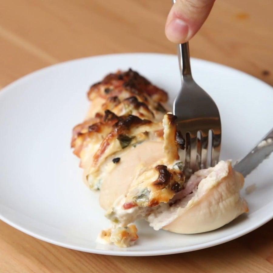 Creamy Bacon Hasselback Chicken