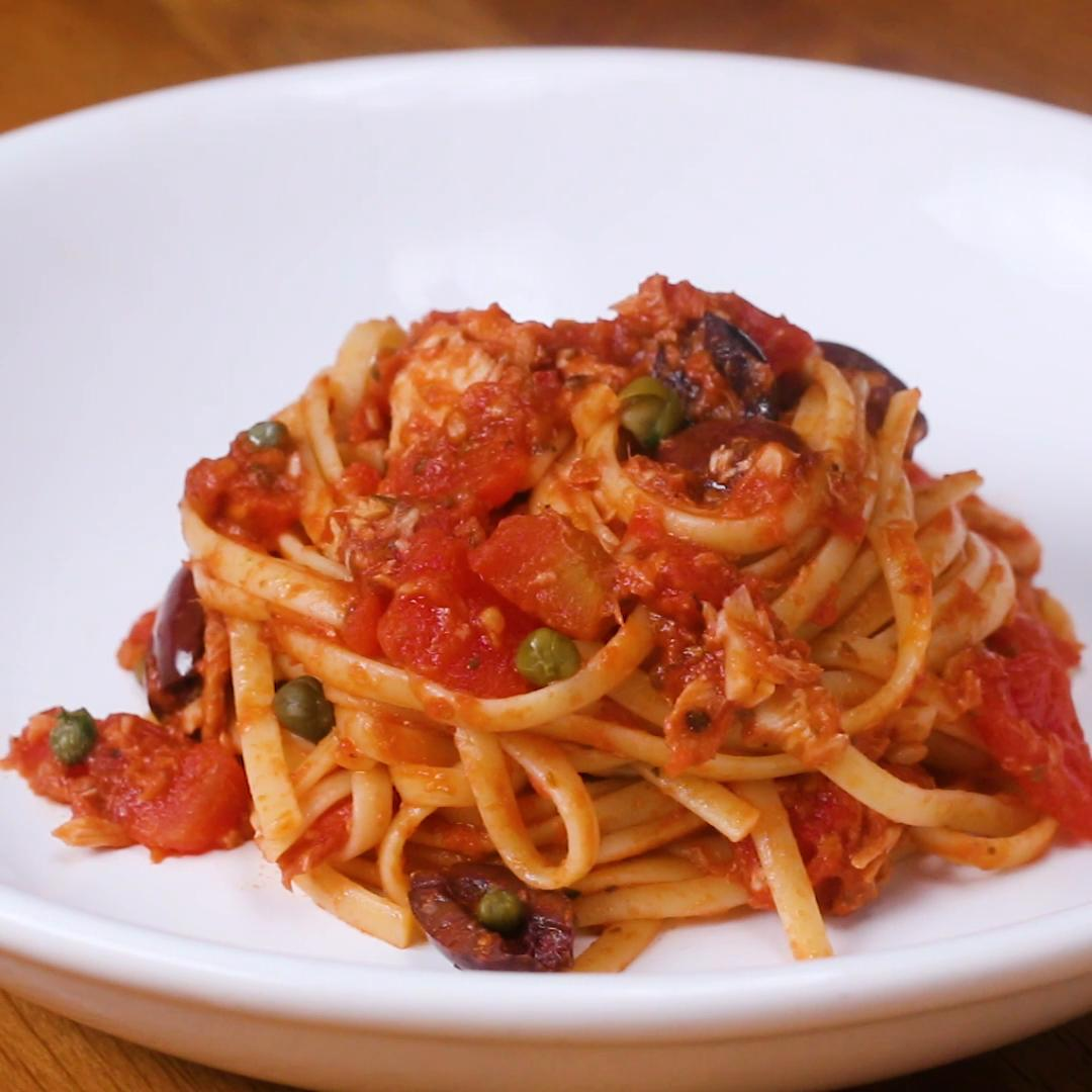 tuna linguine with tomatoes olives capers recipe by tasty