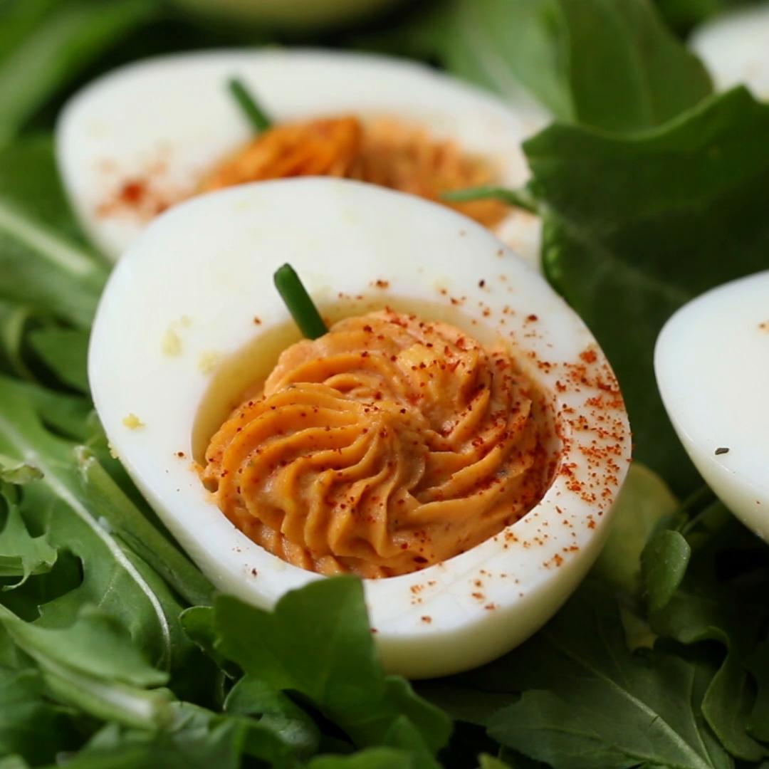 Halloween Pumpkin Deviled Eggs Recipe By Tasty