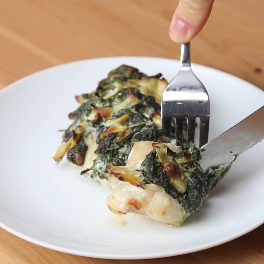 Spinach And Artichoke Dip Hasselback Chicken