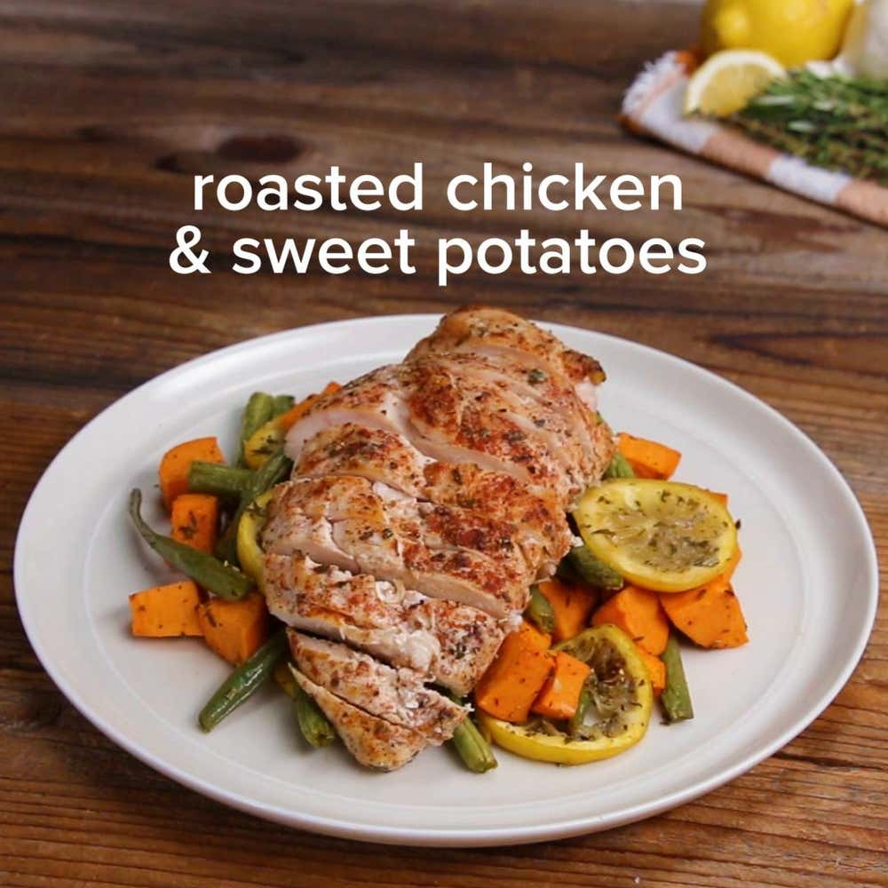 One-pan Roasted Chicken And Sweet Potatoes Recipe By Tasty