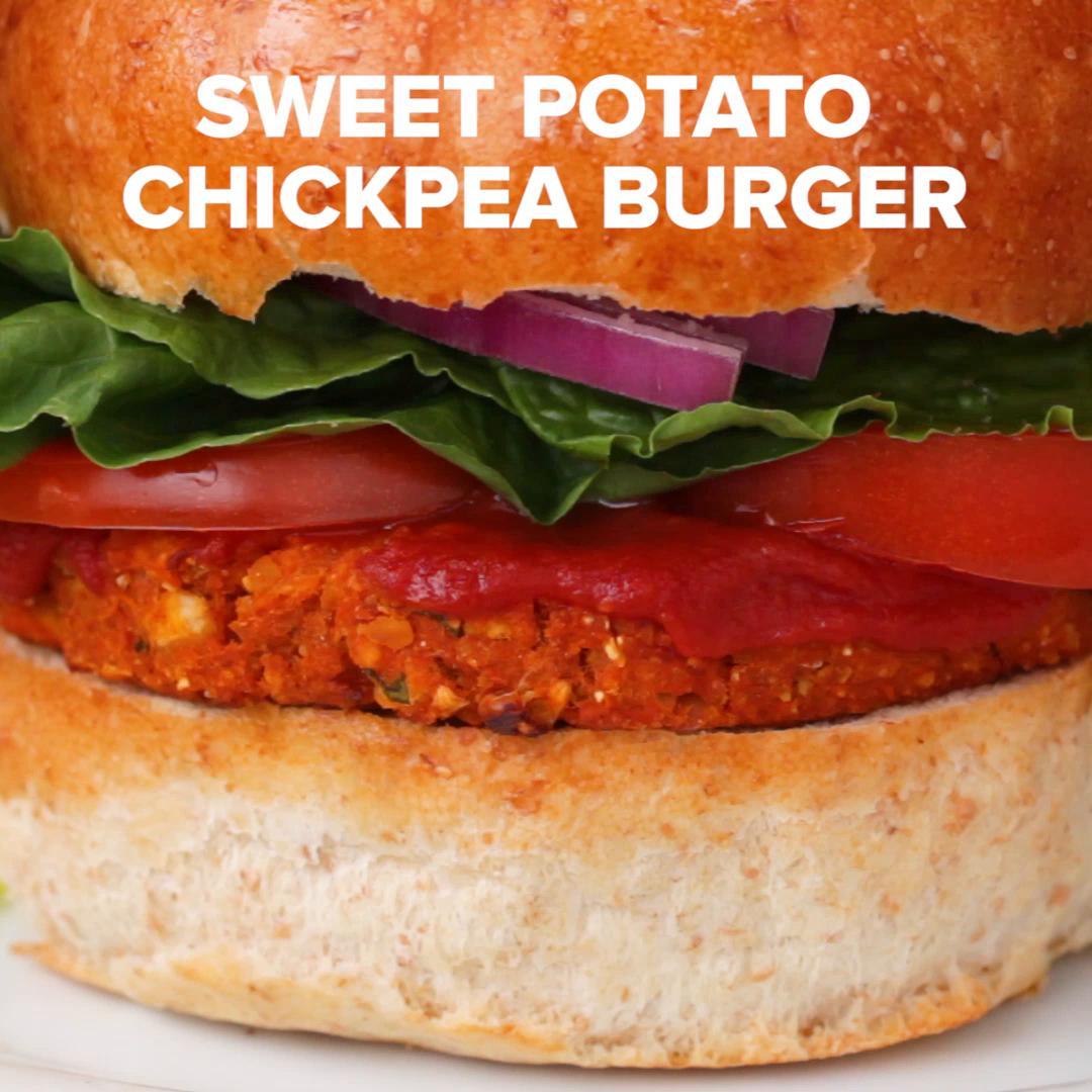Sweet Potato Chickpea Bbq Veggie Burgers Recipe By Tasty