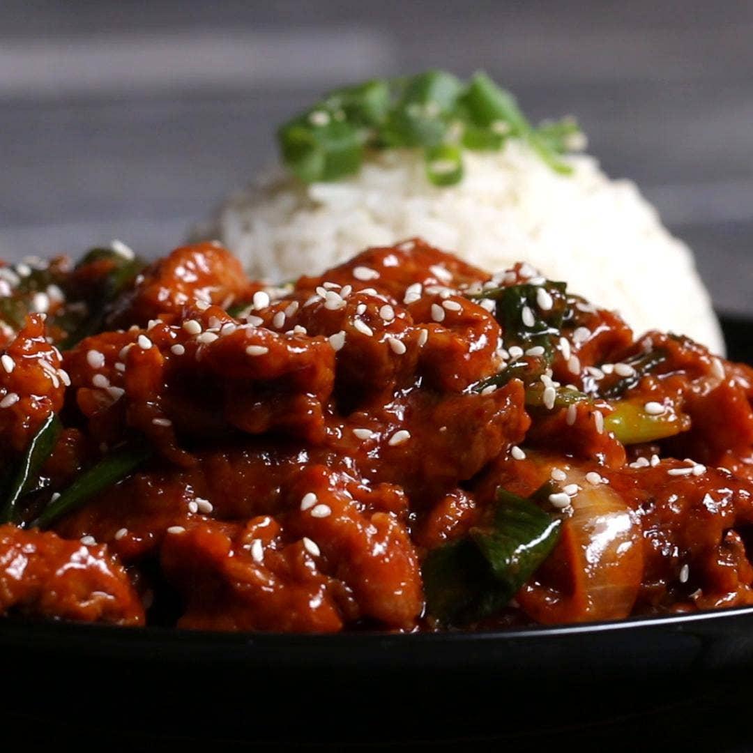 Spicy Korean Bbq Style Pork Recipe By Tasty