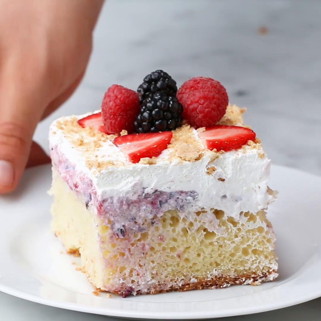 Strawberry Cheesecake Poke Cake Recipe By Tasty