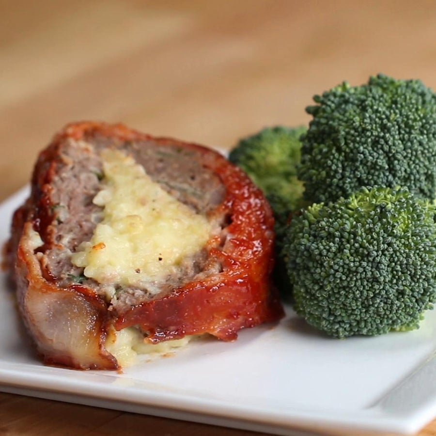 Bacon-wrapped Mashed Potato-stuffed Meatloaf