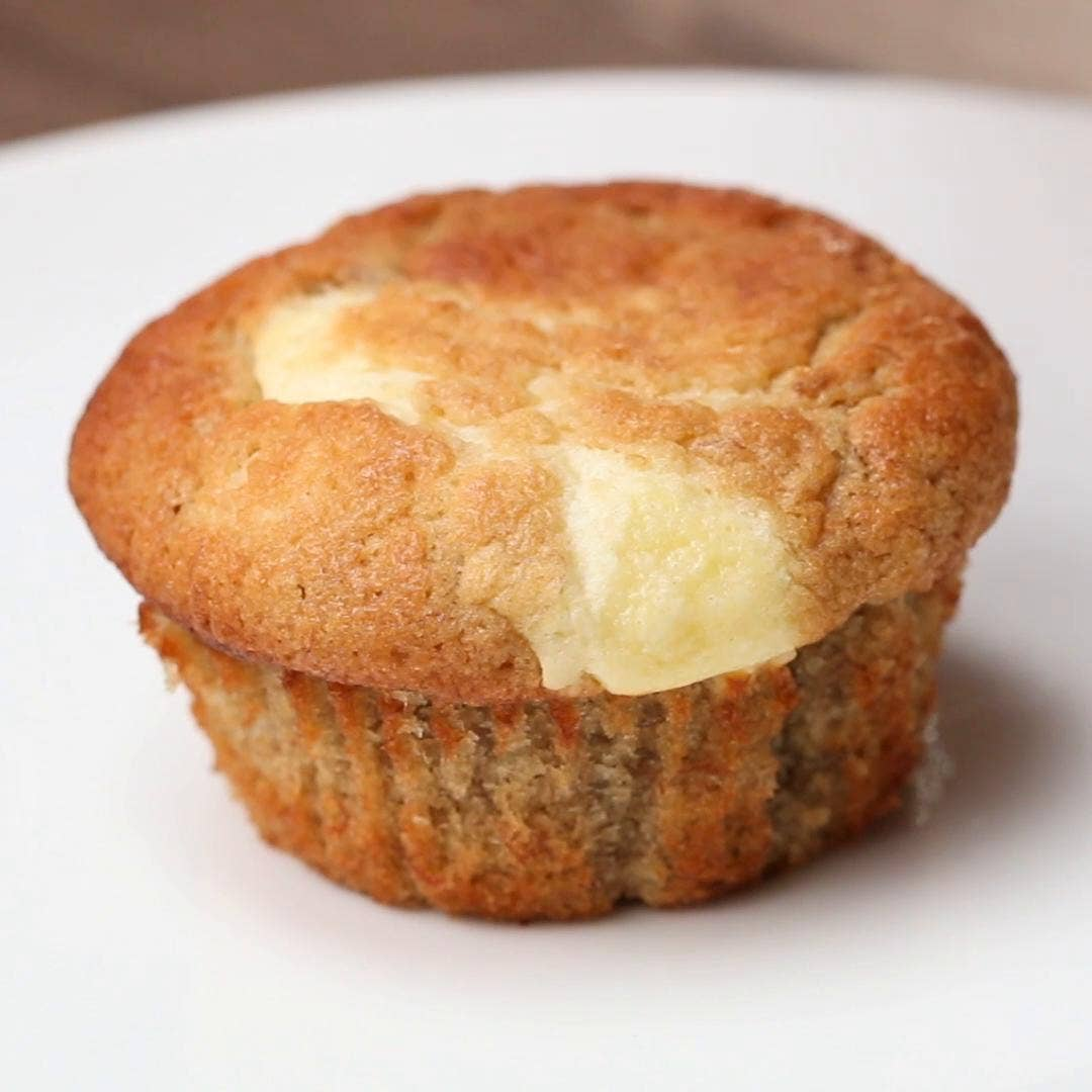 Cream Cheese Filled Banana Bread Muffins Recipe By Tasty