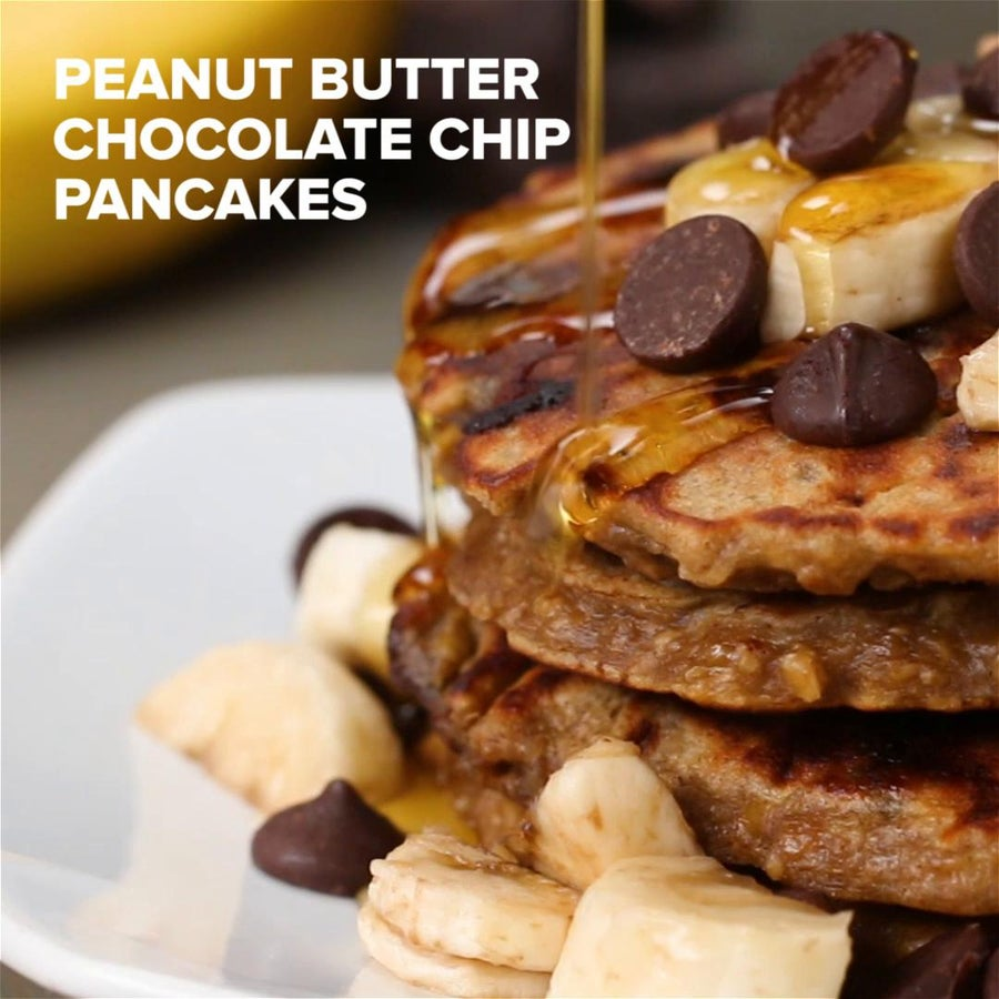 Healthy Peanut Butter Chocolate Chip Pancakes