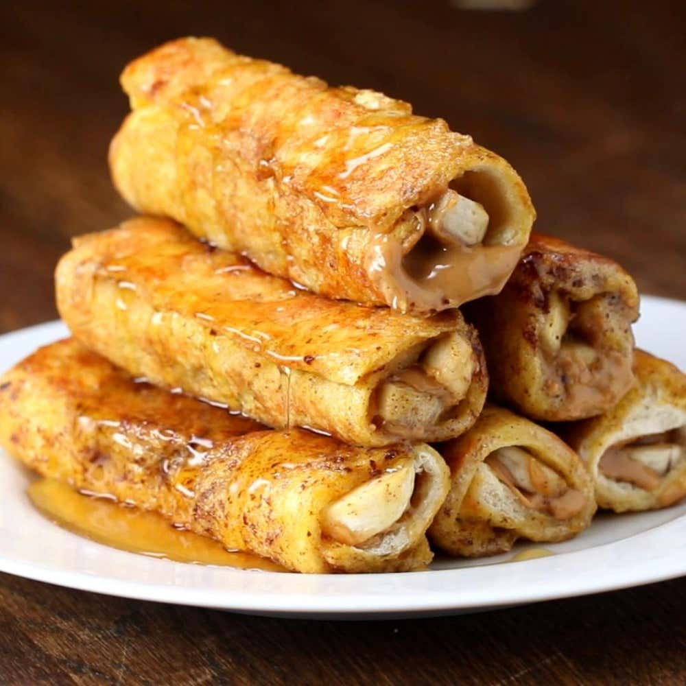 Banana Peanut Butter French Toast Roll Up Recipe By Tasty