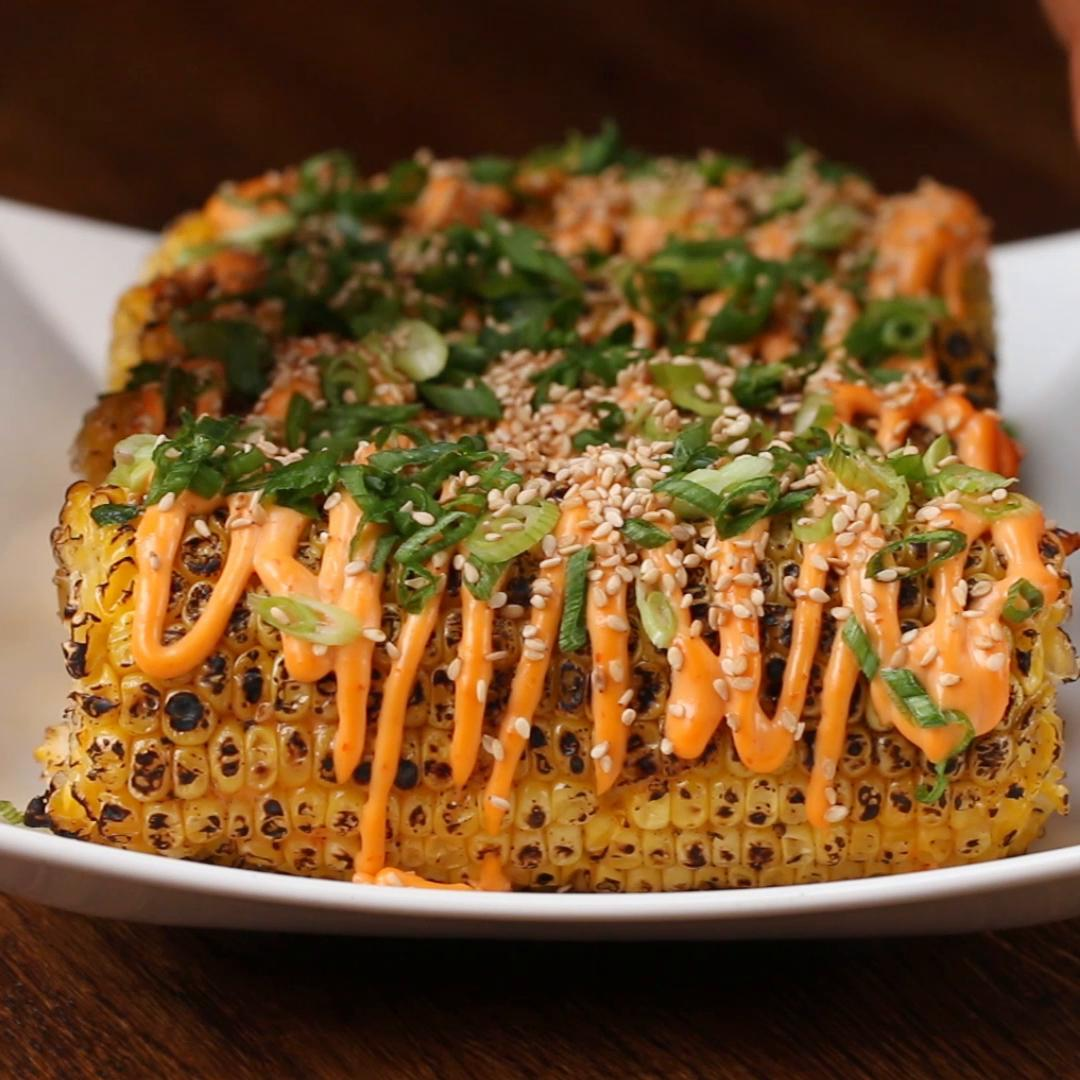 Sriracha Sesame Grilled Corn Recipe by Tasty
