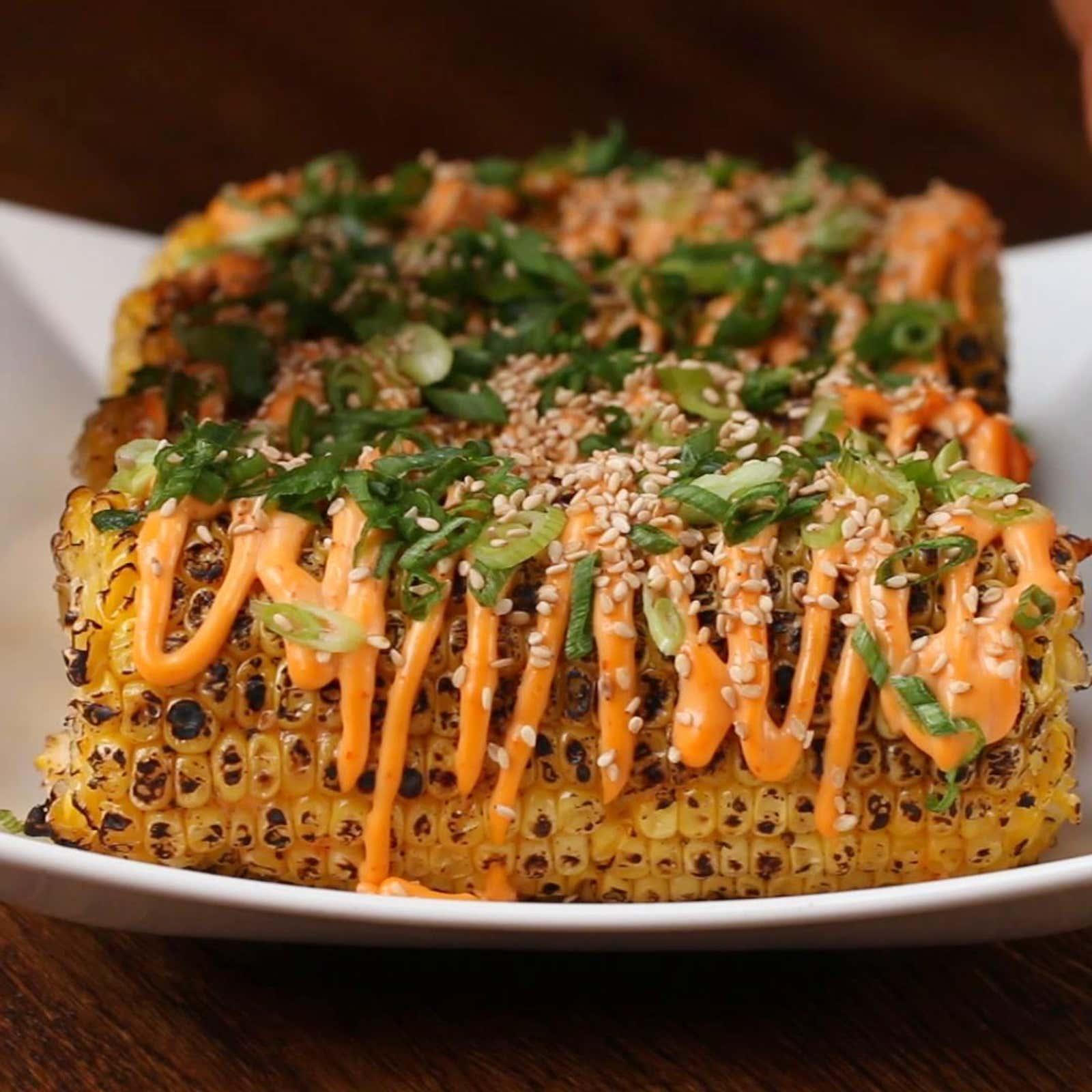 Sriracha Sesame Grilled Corn