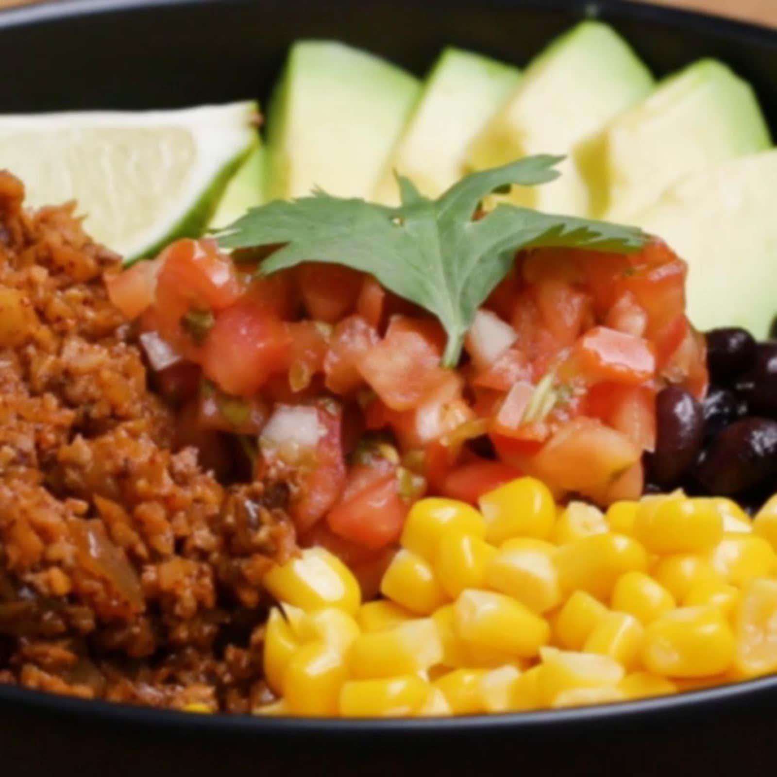 """Cauliflower """"Meat"""" Burrito Bowl"""
