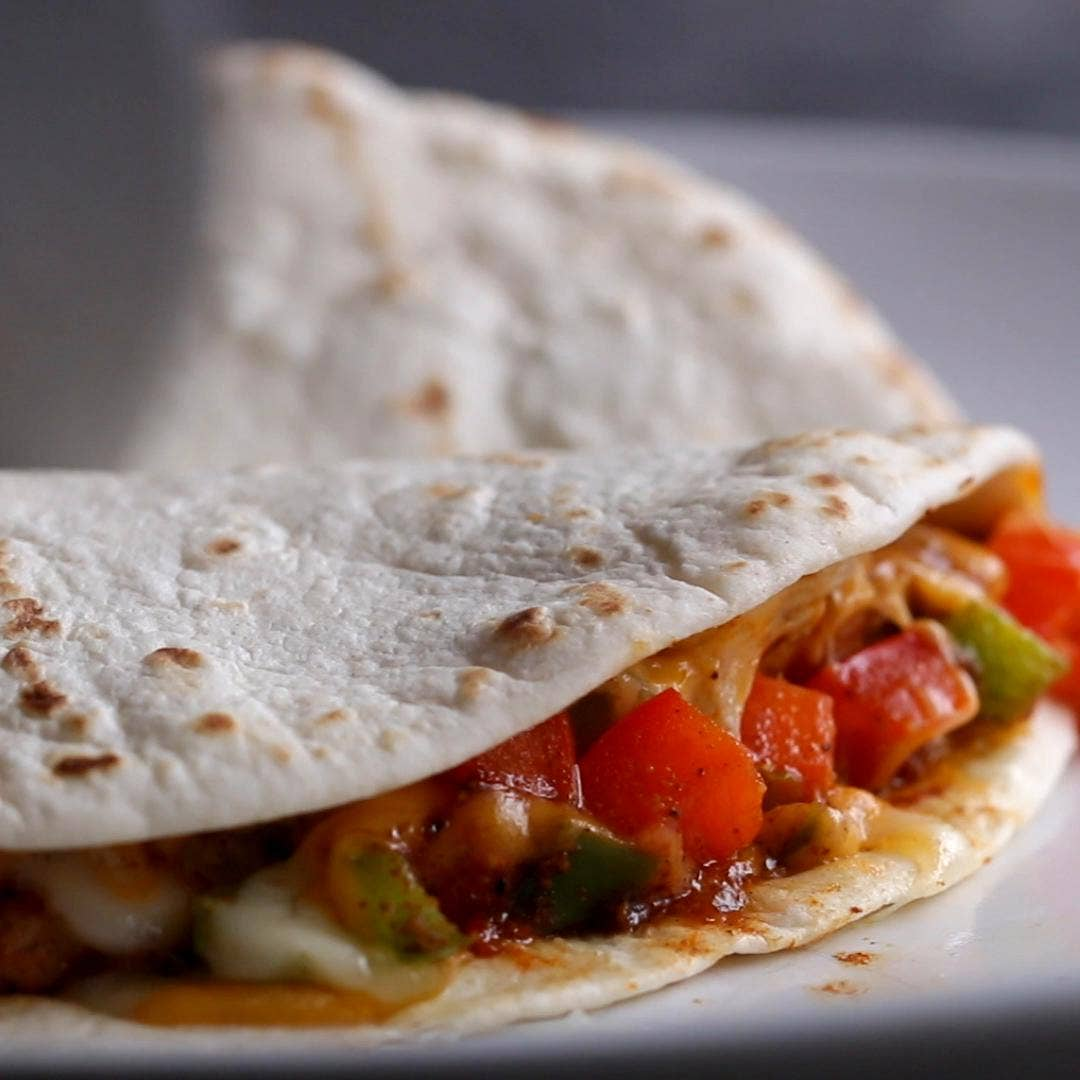 Microwave 4 Minute Chicken Quesadilla Recipe By Tasty