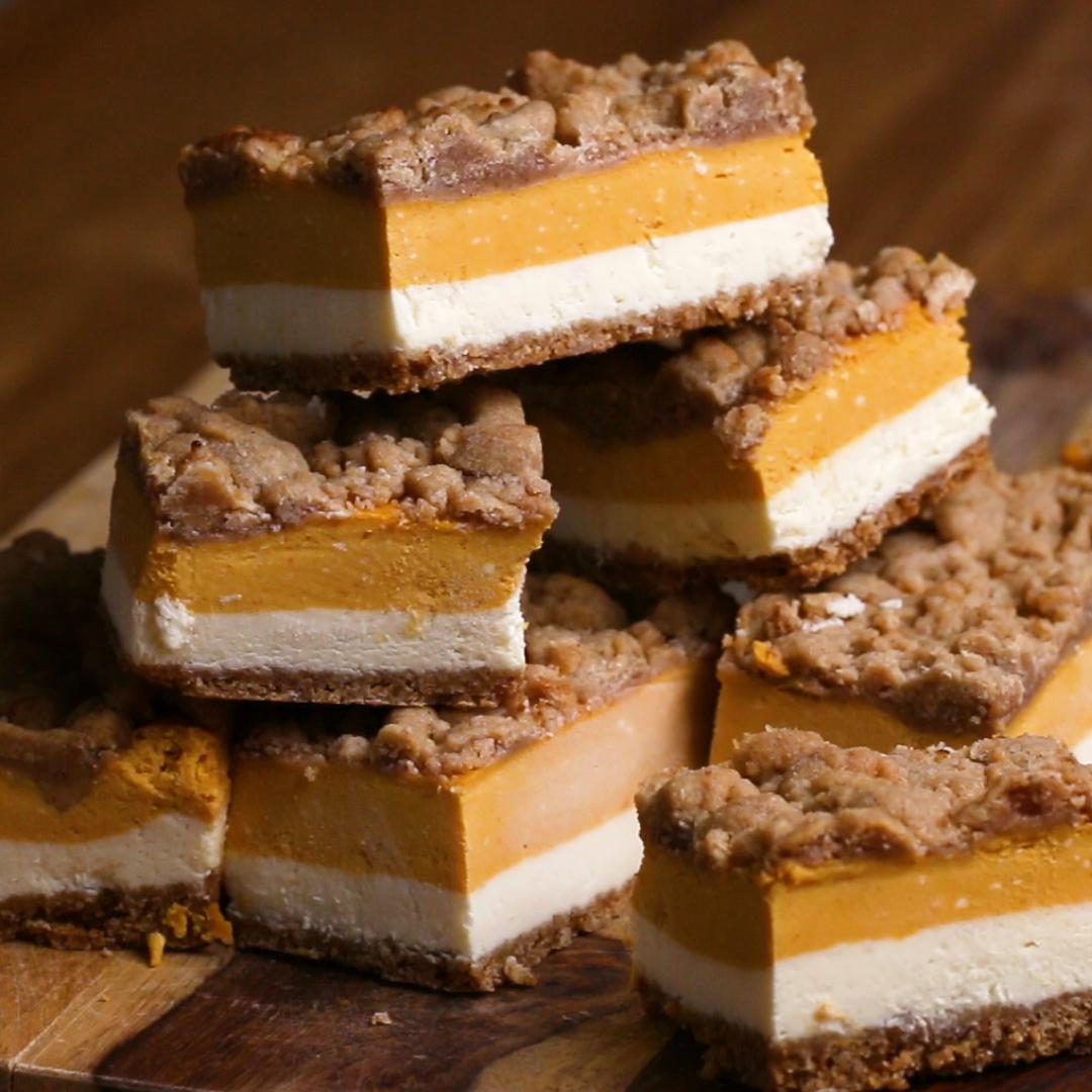 Pumpkin Cheesecake Bars Recipe By Tasty