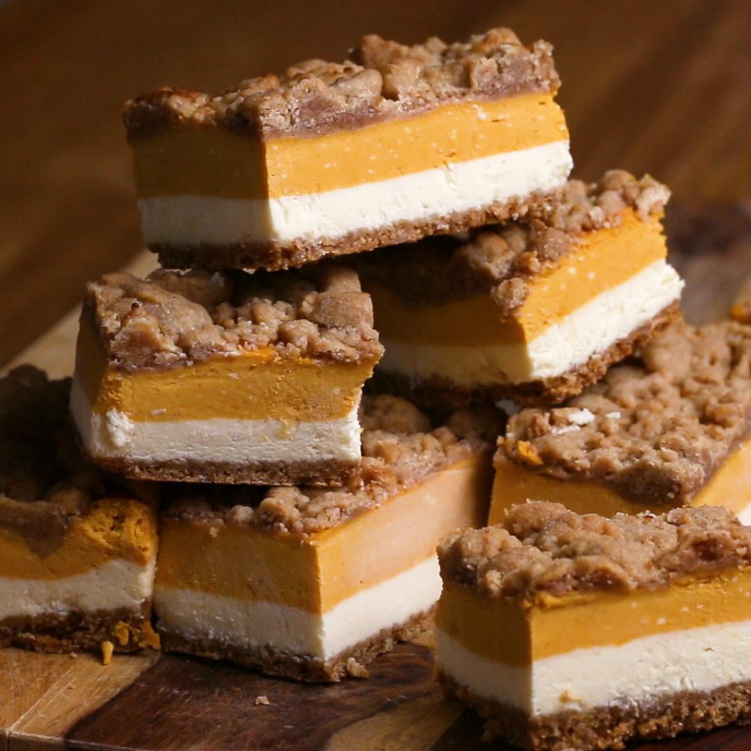 Pumpkin Cheesecake Bars Recipe By Tasty