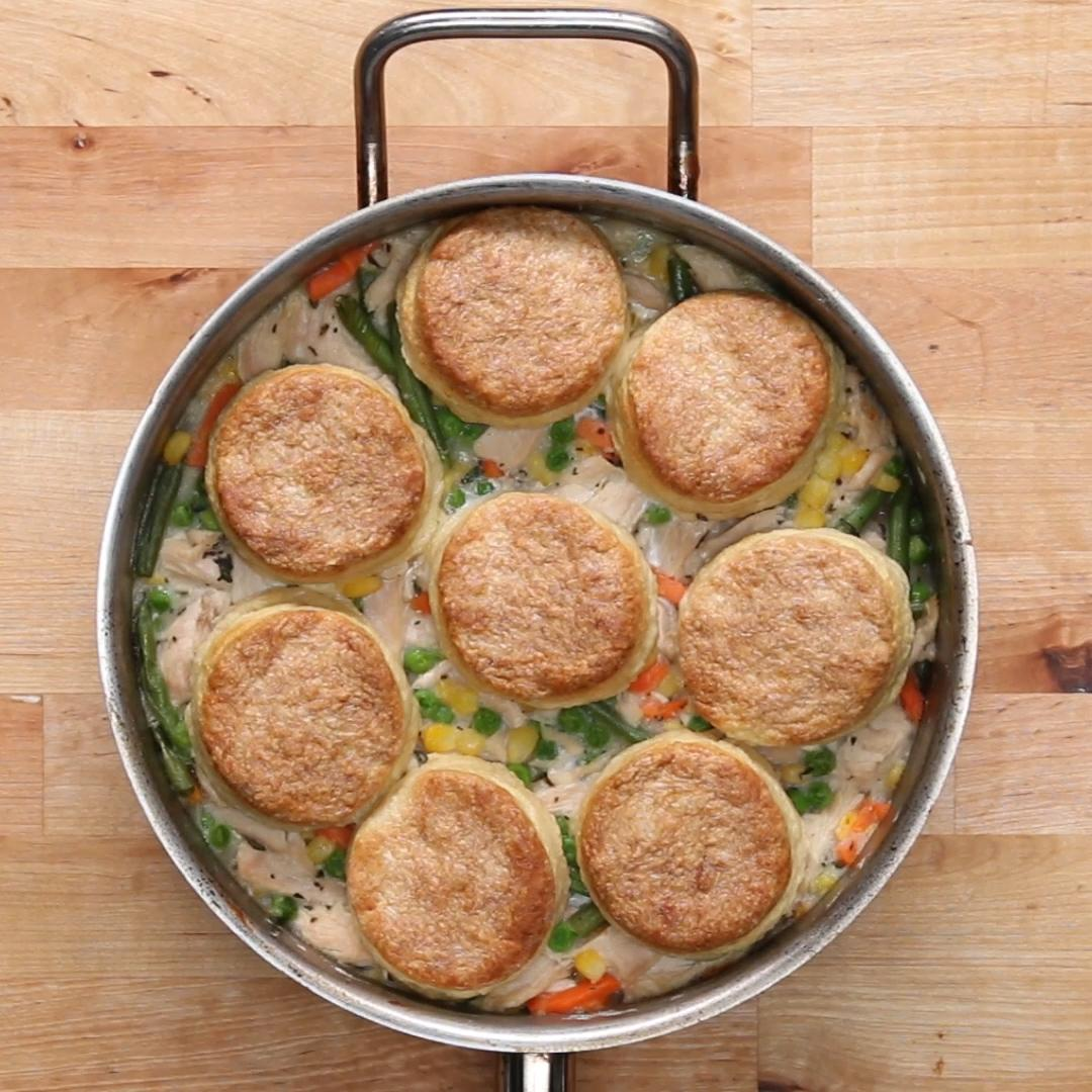 Turkey Skillet Pot Pie With Buttermilk Biscuits