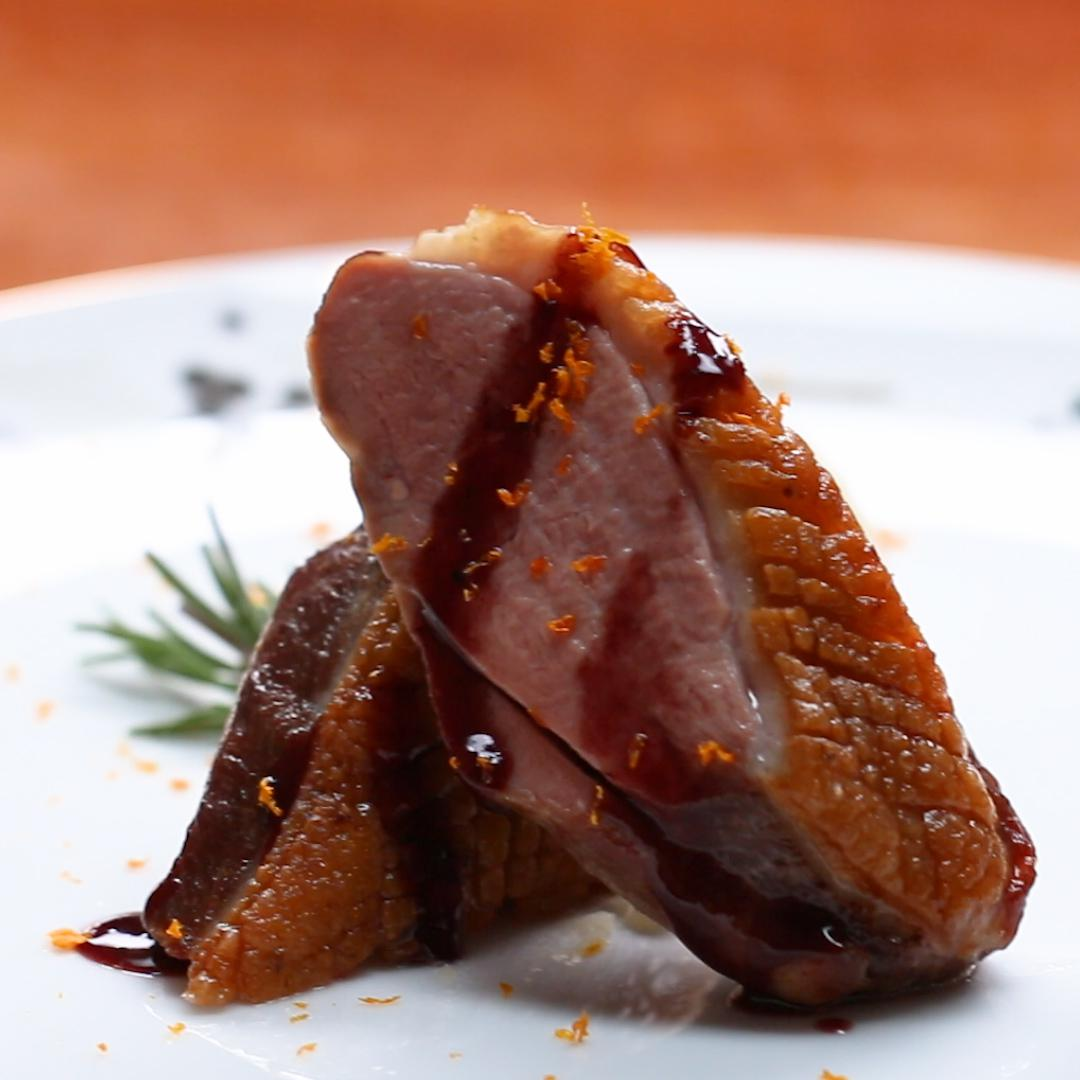 Seared Duck Breast With Red Wine Jus And Orange, Olive Oil Mash Recipe by Tasty image