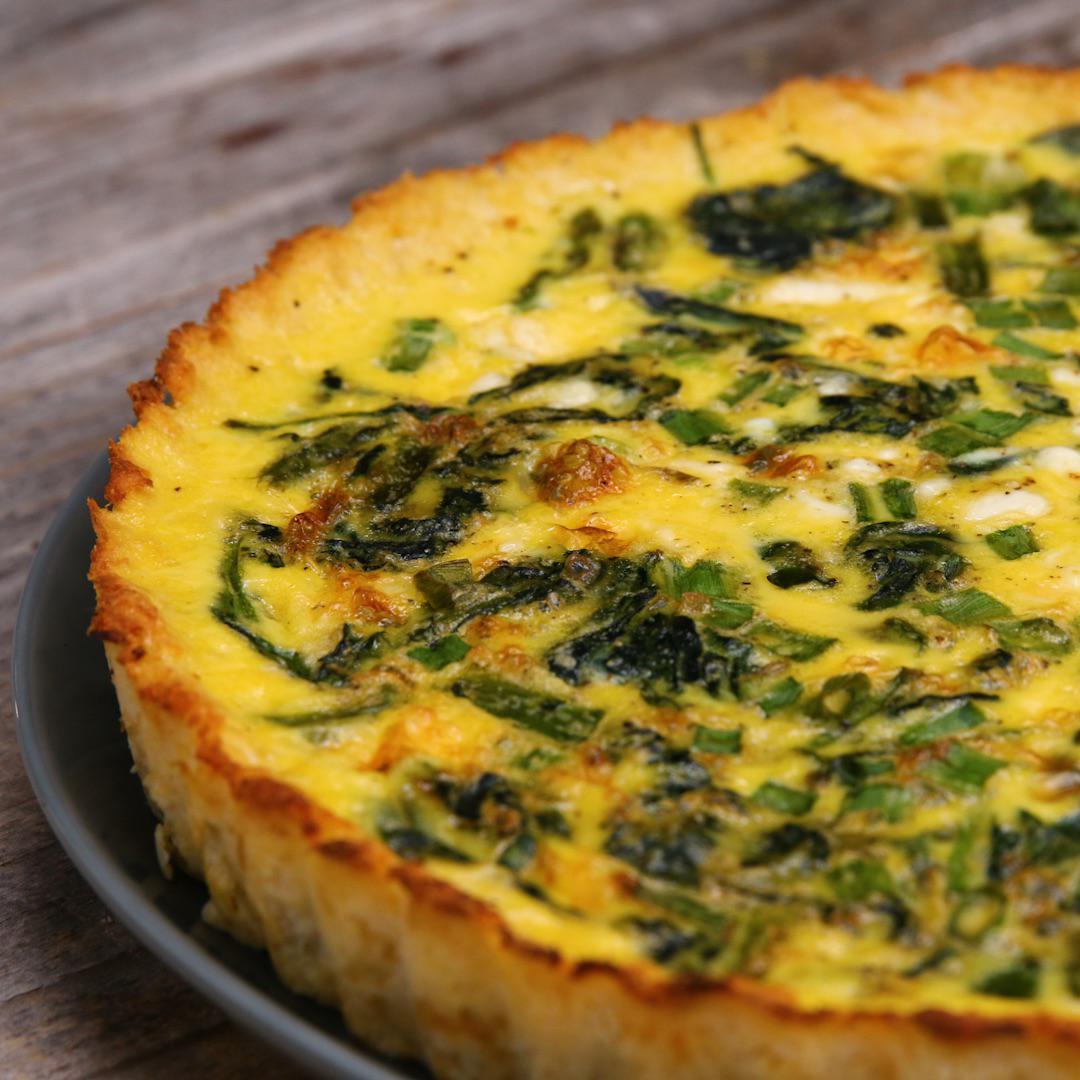 Cauliflower Crusted Quiche Recipe By Tasty