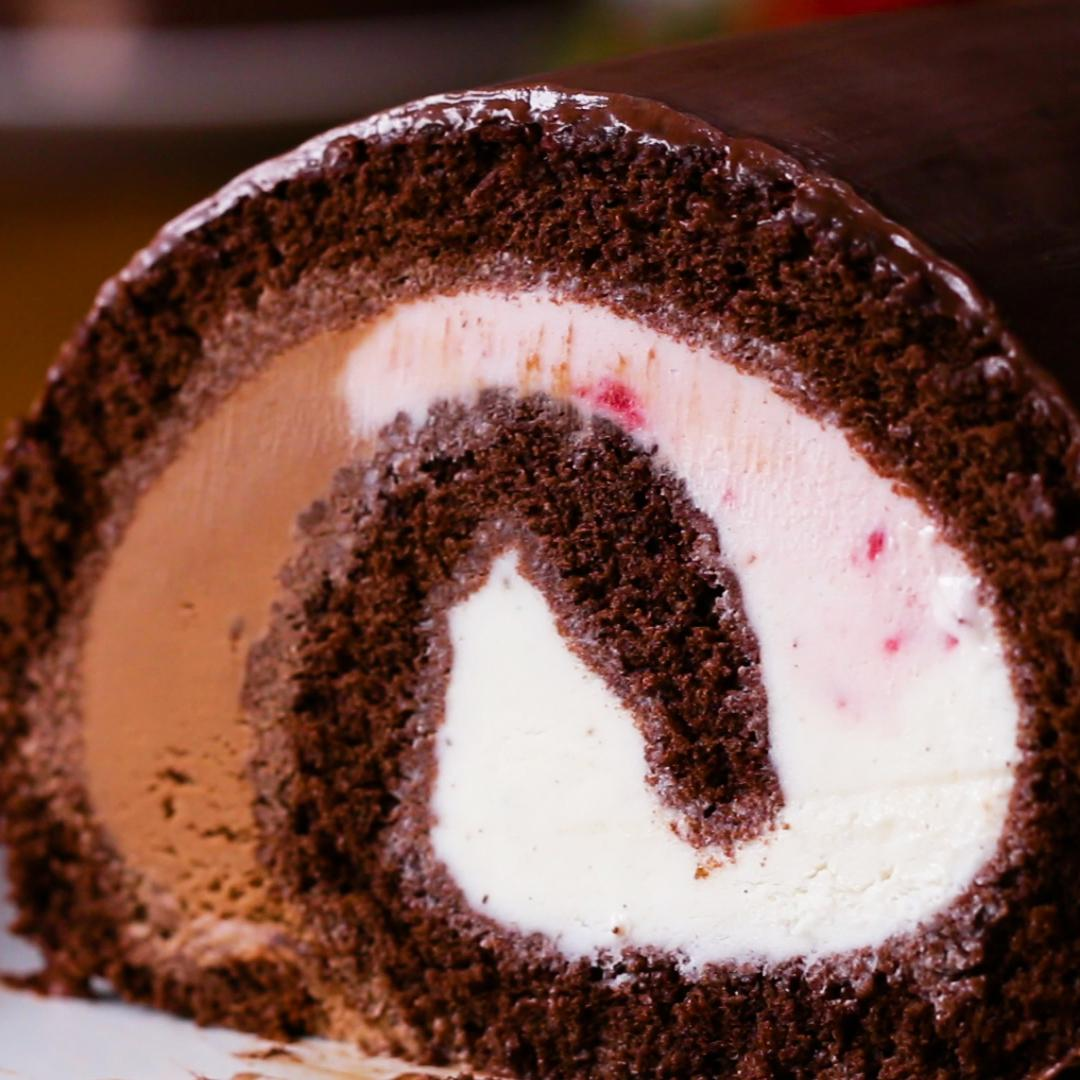 Neapolitan Ice Cream Cake Roll Recipe By Tasty