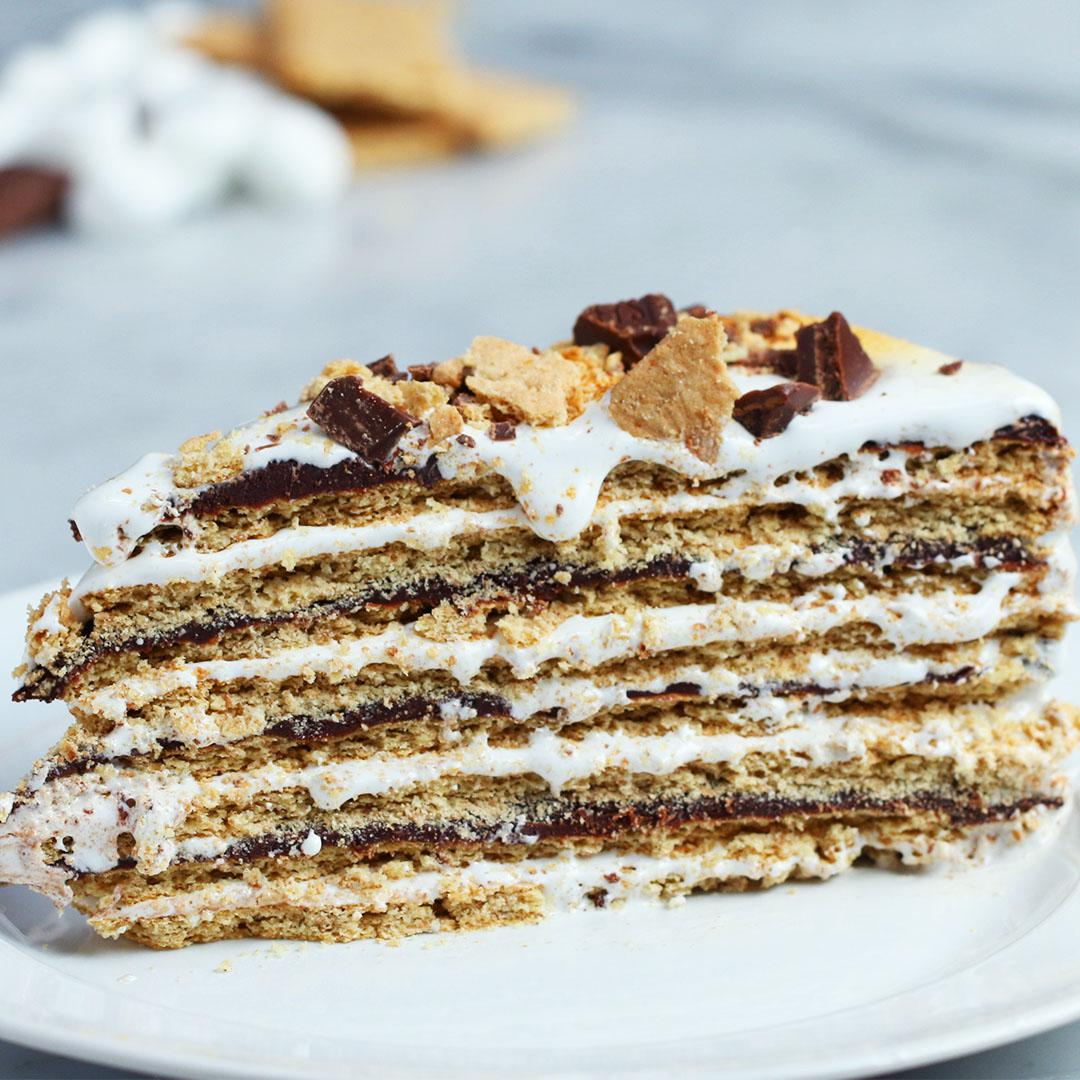 16 Layer No Bake S Mores Cake Recipe By Tasty