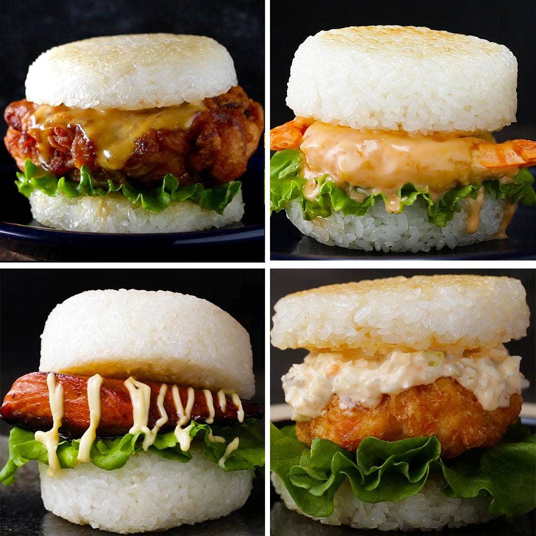 Japanese Rice Burgers 4 Ways Recipes