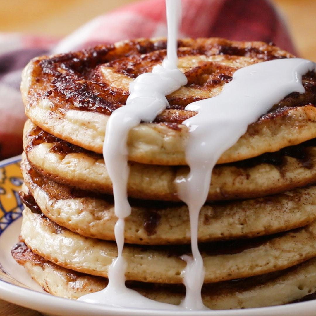 Fluffy pancakes recipe by tasty cinnamon roll pancakes with chloe coscarelli ccuart Gallery