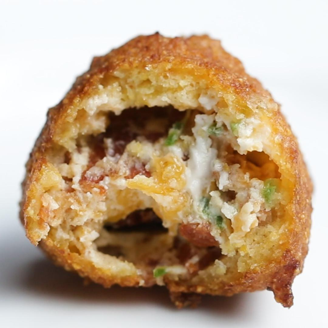 Bacon Cheddar Jalapeño Stuffed Hush Puppies Recipe By Tasty