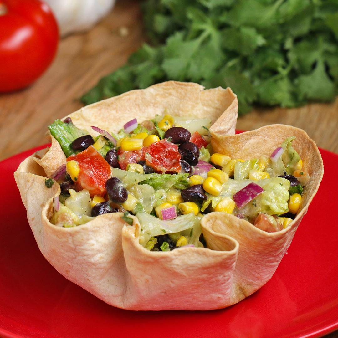 Tasty food videos and recipes tortilla bowl southwestern salad forumfinder Image collections
